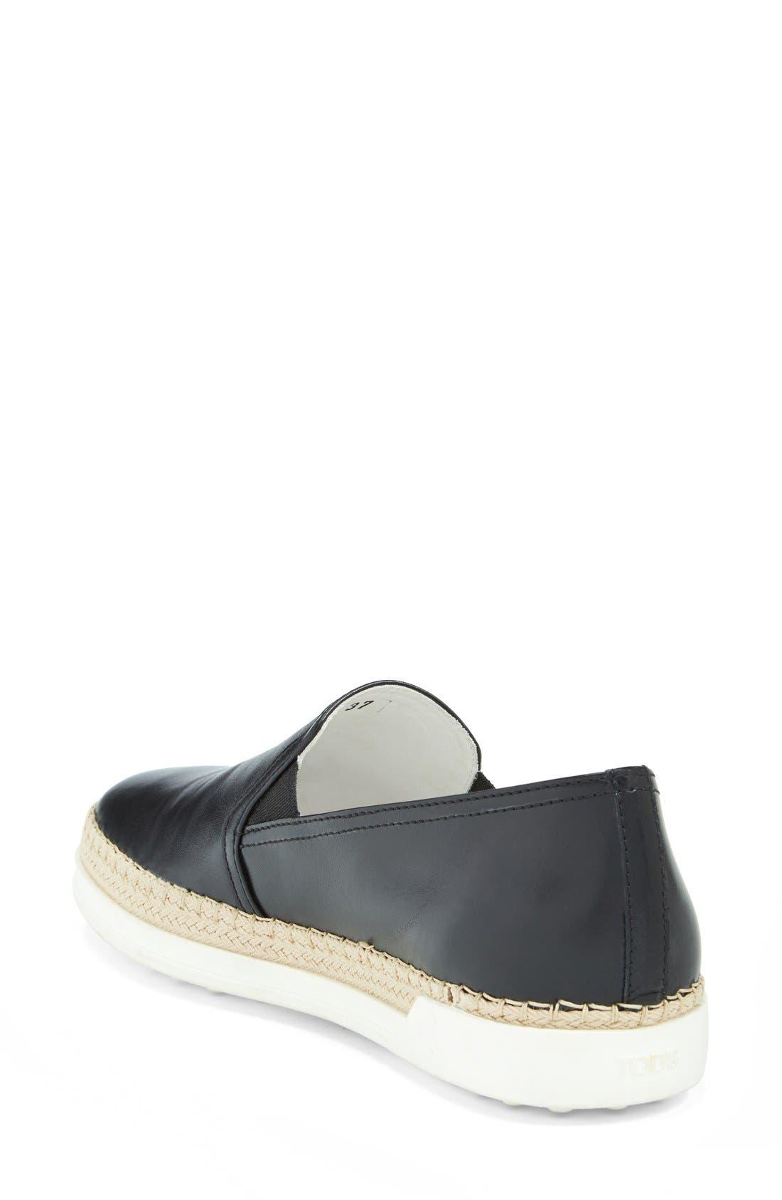 TOD'S,                             Slip-On Leather Sneaker,                             Alternate thumbnail 2, color,                             001