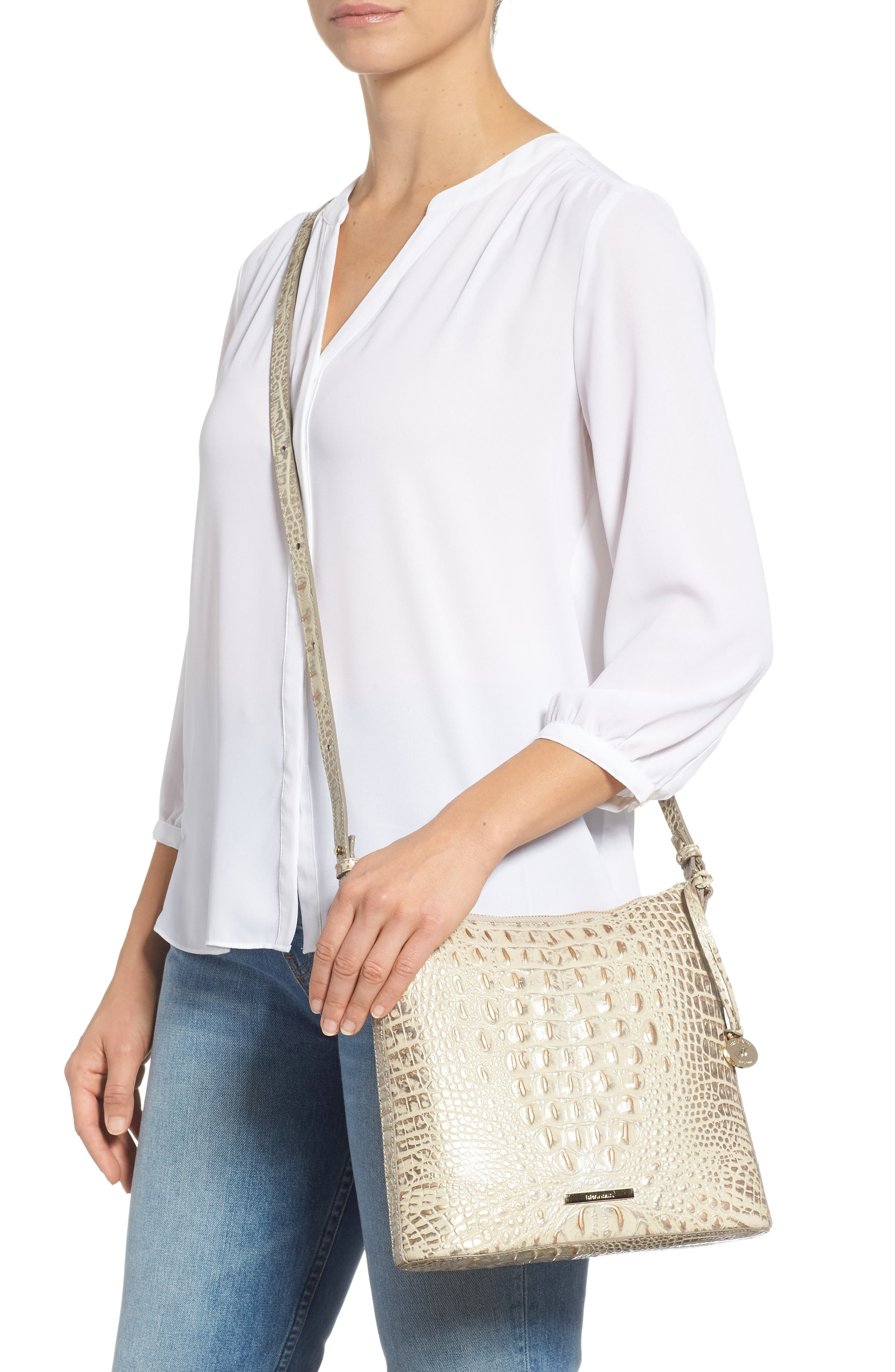 Katie Croc Embossed Leather Crossbody Bag,                             Alternate thumbnail 2, color,                             SILVER BIRCH