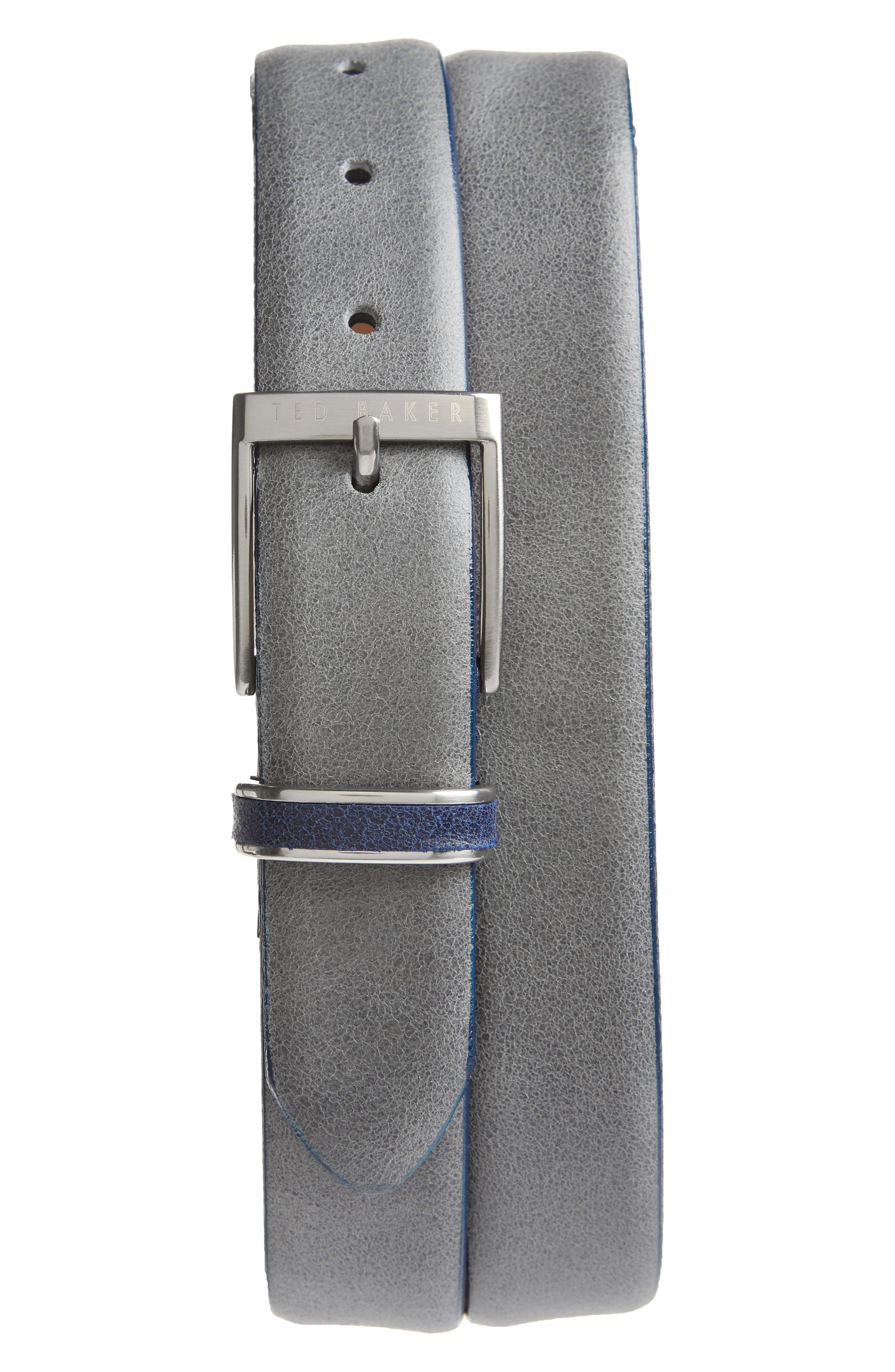 Waxed Suede Belt,                         Main,                         color, GREY