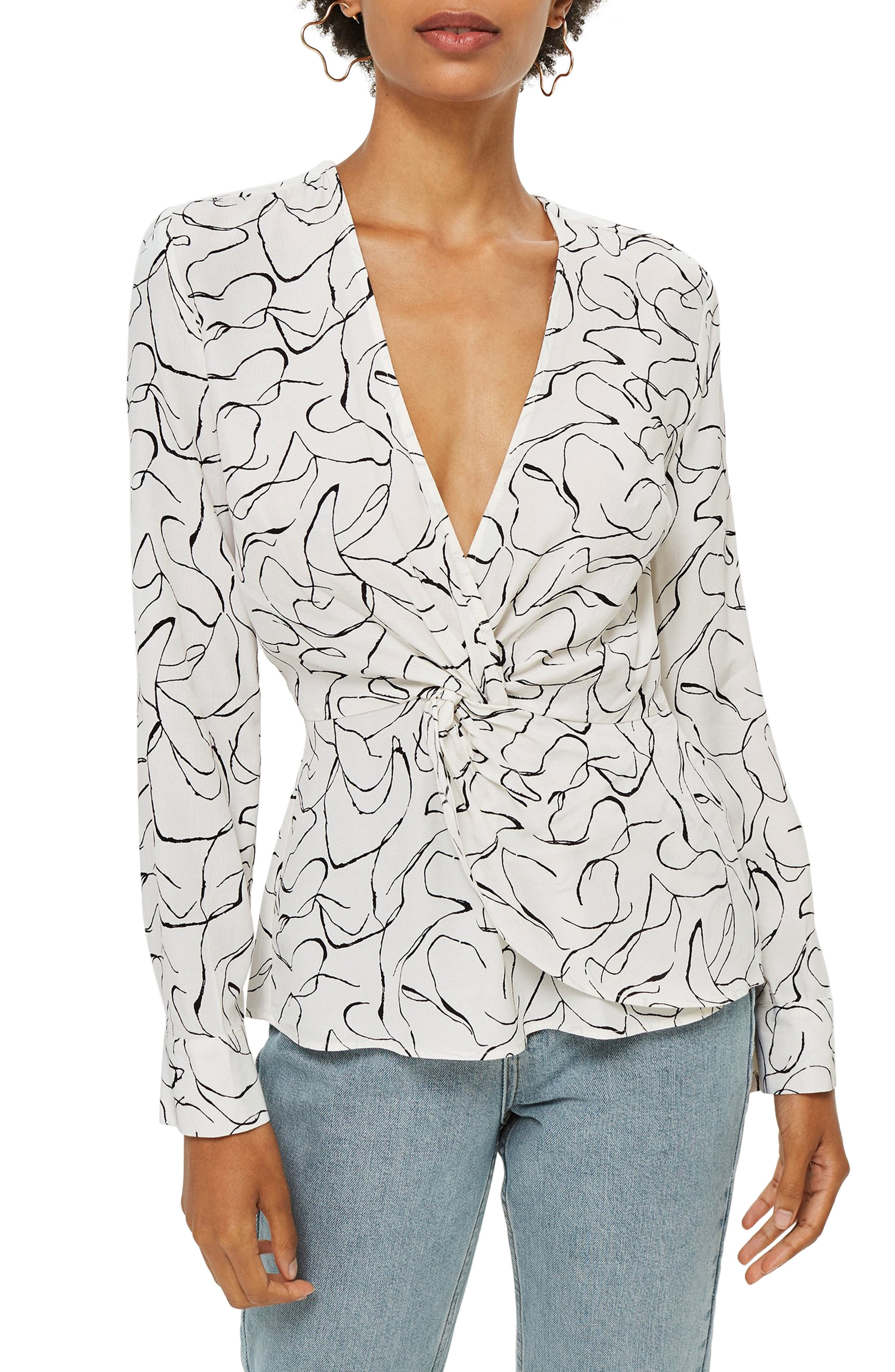 Obsession Twist Front Blouse,                             Main thumbnail 1, color,                             IVORY
