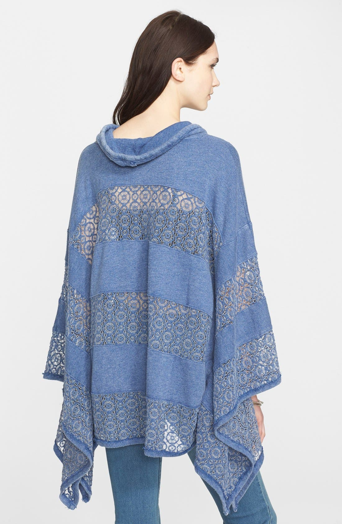 'Mama' Crochet Stripe French Terry Poncho,                             Alternate thumbnail 2, color,                             400