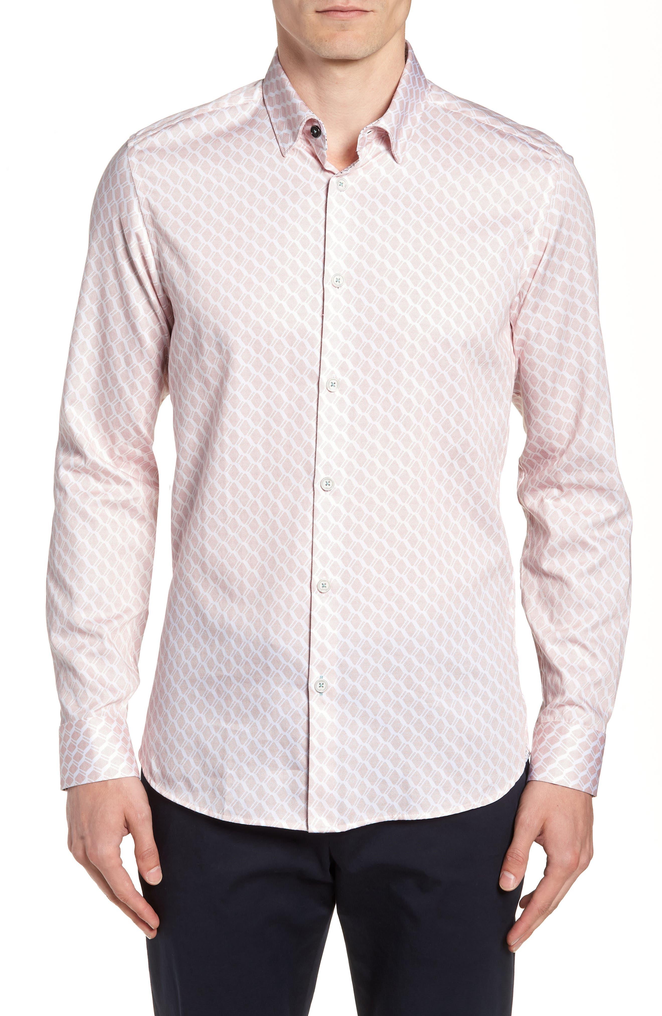 Pimlitt Geometric Pattern Sport Shirt,                         Main,                         color, PINK