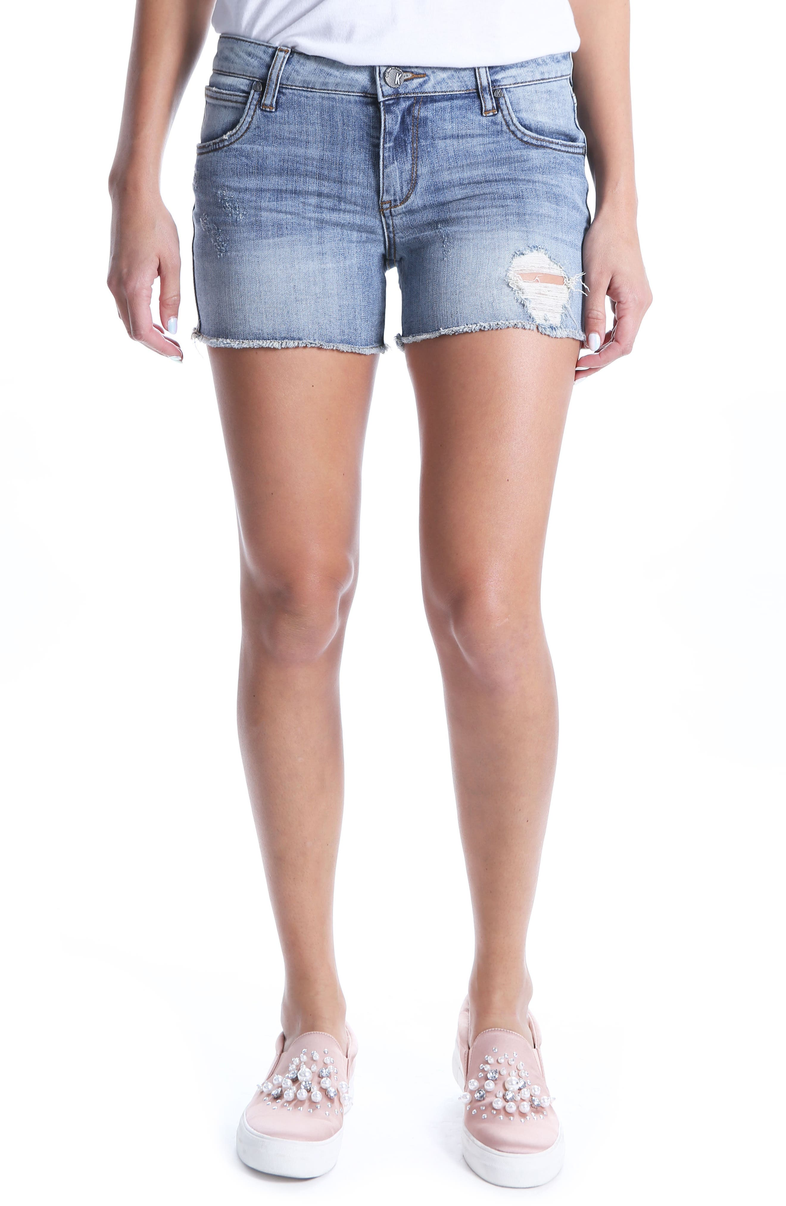 KUT Kollection Gidget Ripped Denim Shorts,                             Main thumbnail 1, color,                             400