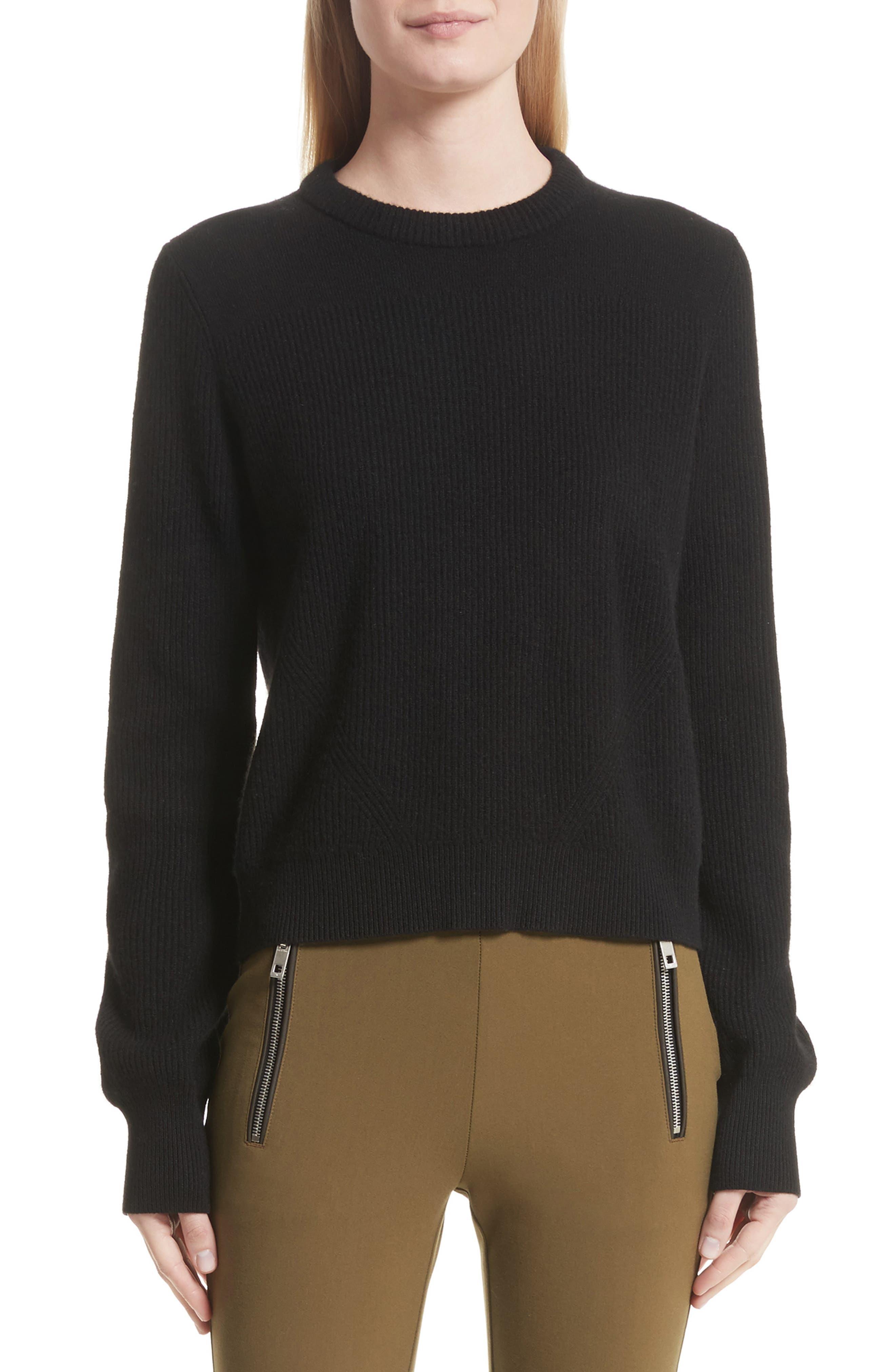 Ace Cashmere Crop Sweater,                             Main thumbnail 1, color,                             001