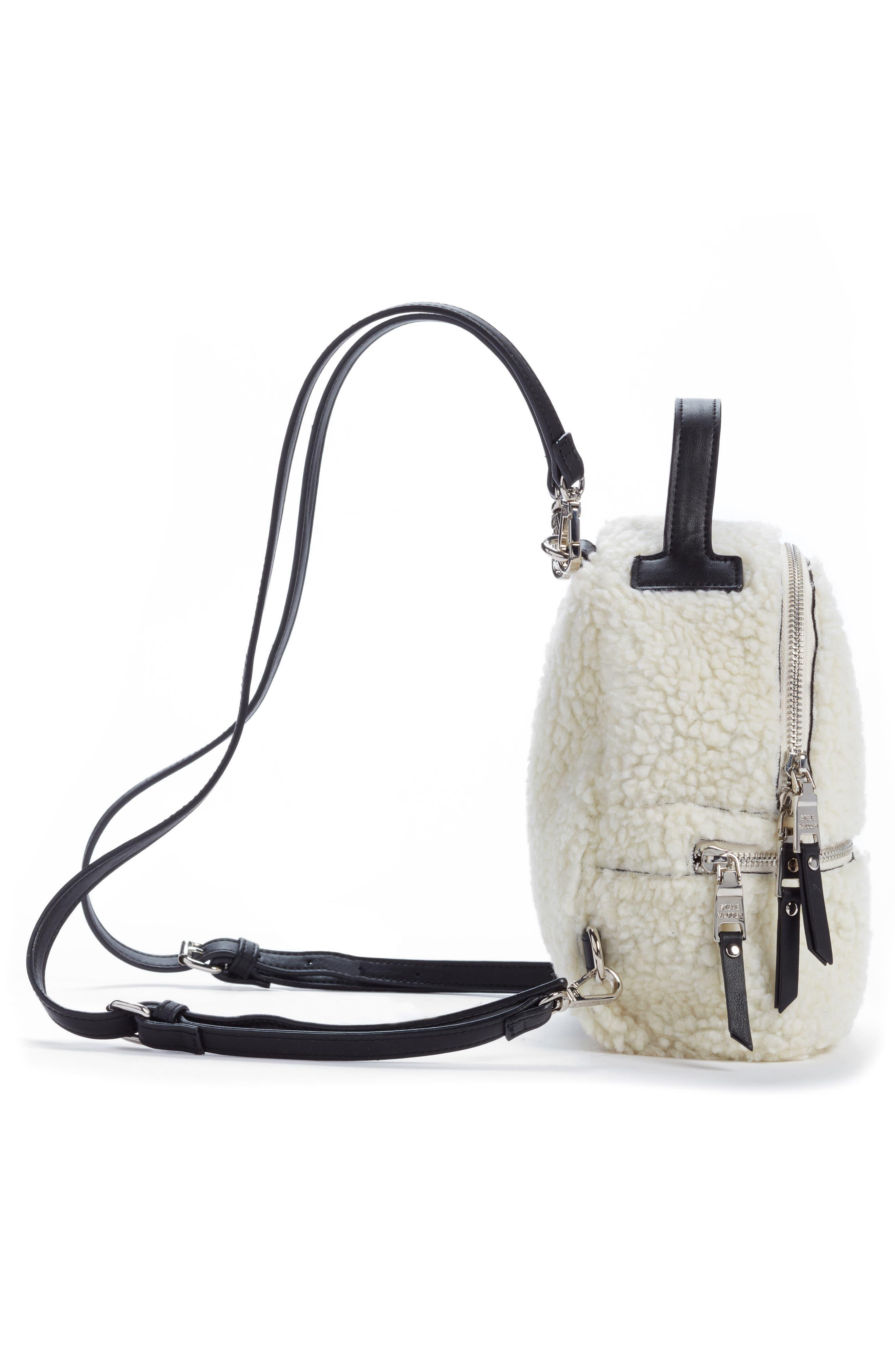 Mini Faux Fur Convertible Backpack,                             Alternate thumbnail 5, color,                             NATURAL