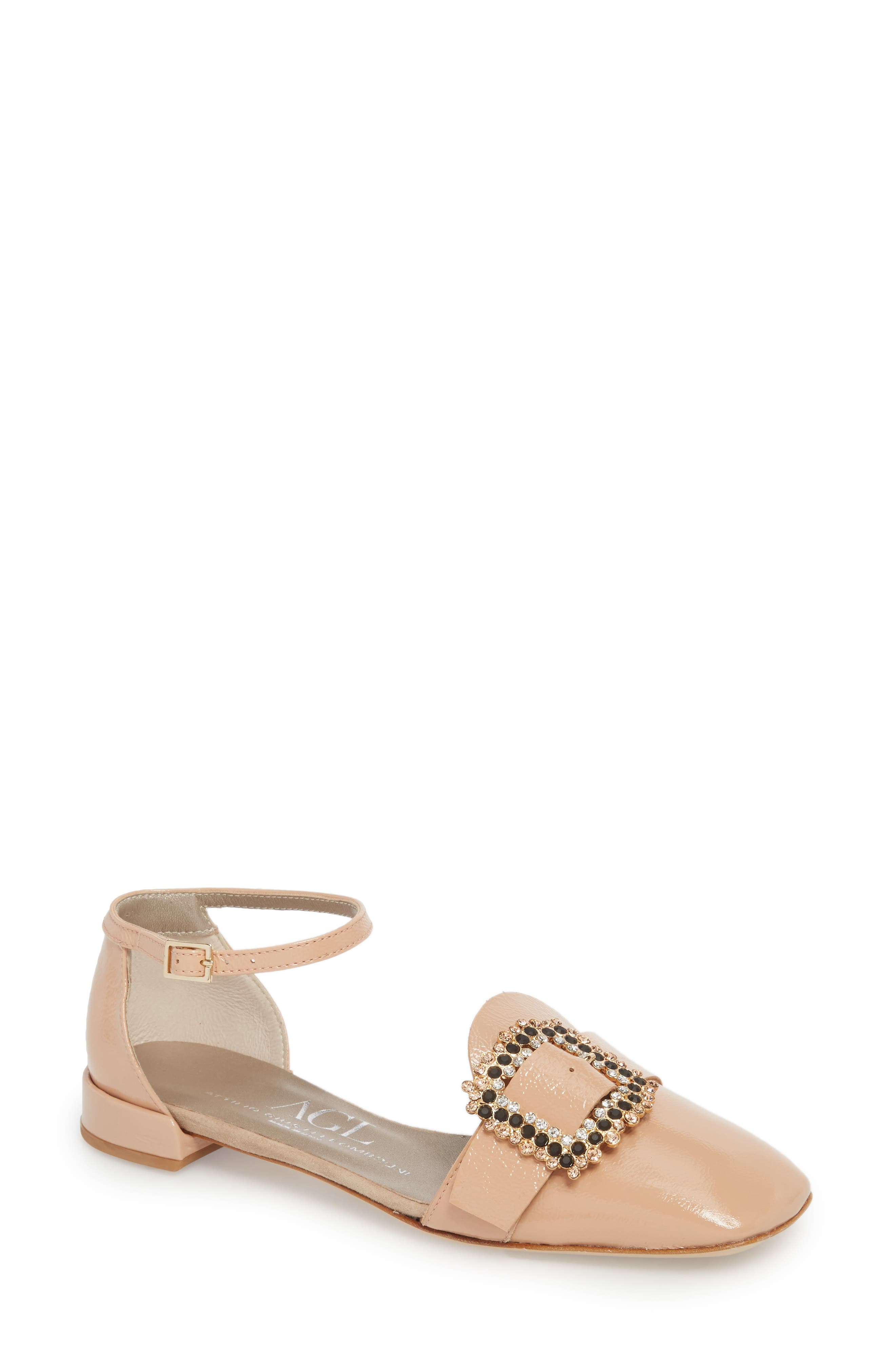Ornament Ankle Strap Flat,                             Main thumbnail 1, color,                             SKIN GLAMMY LEATHER