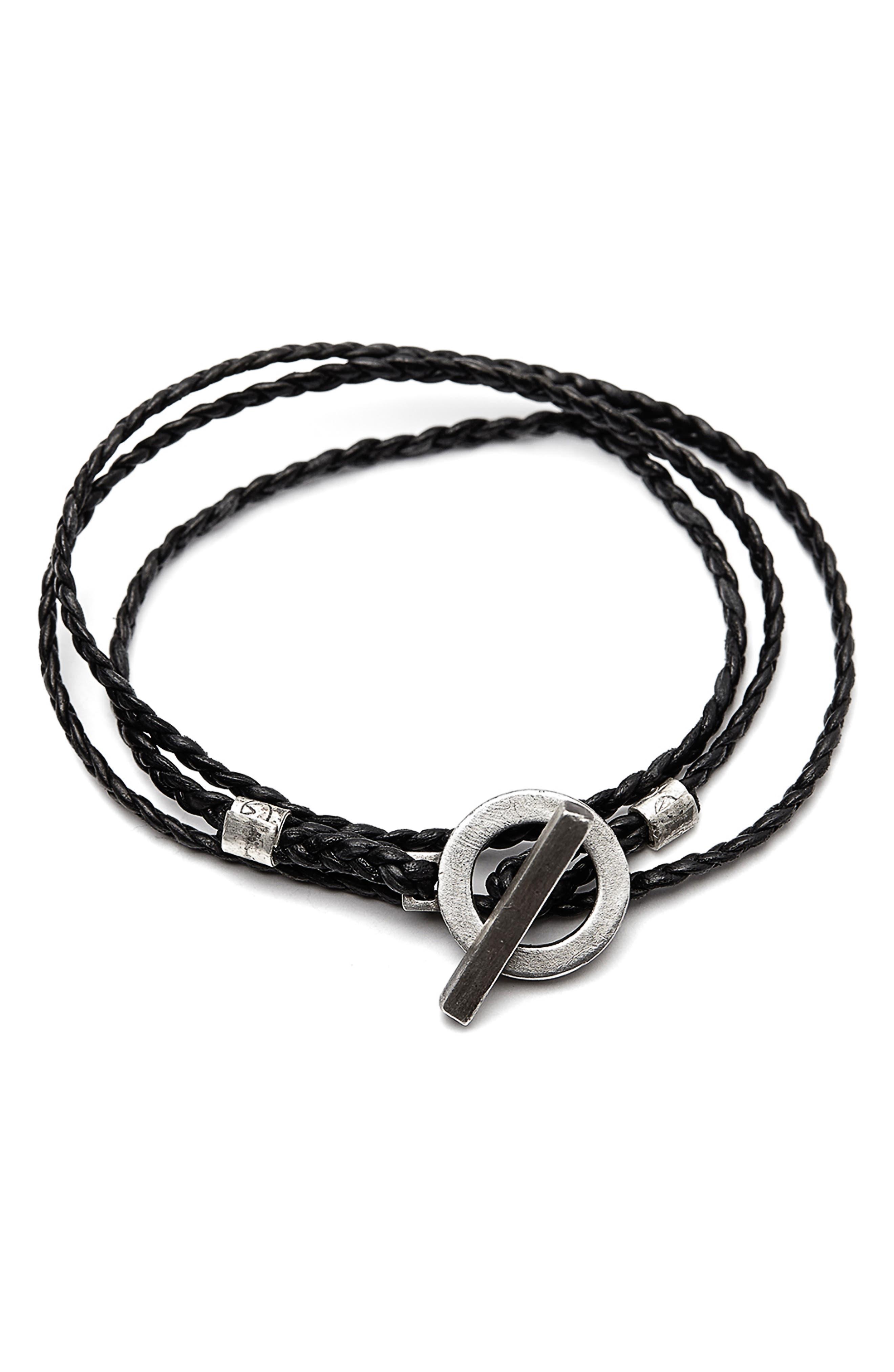 3-Wrap Braided Leather Bracelet,                             Main thumbnail 1, color,                             SILVER/BLACK