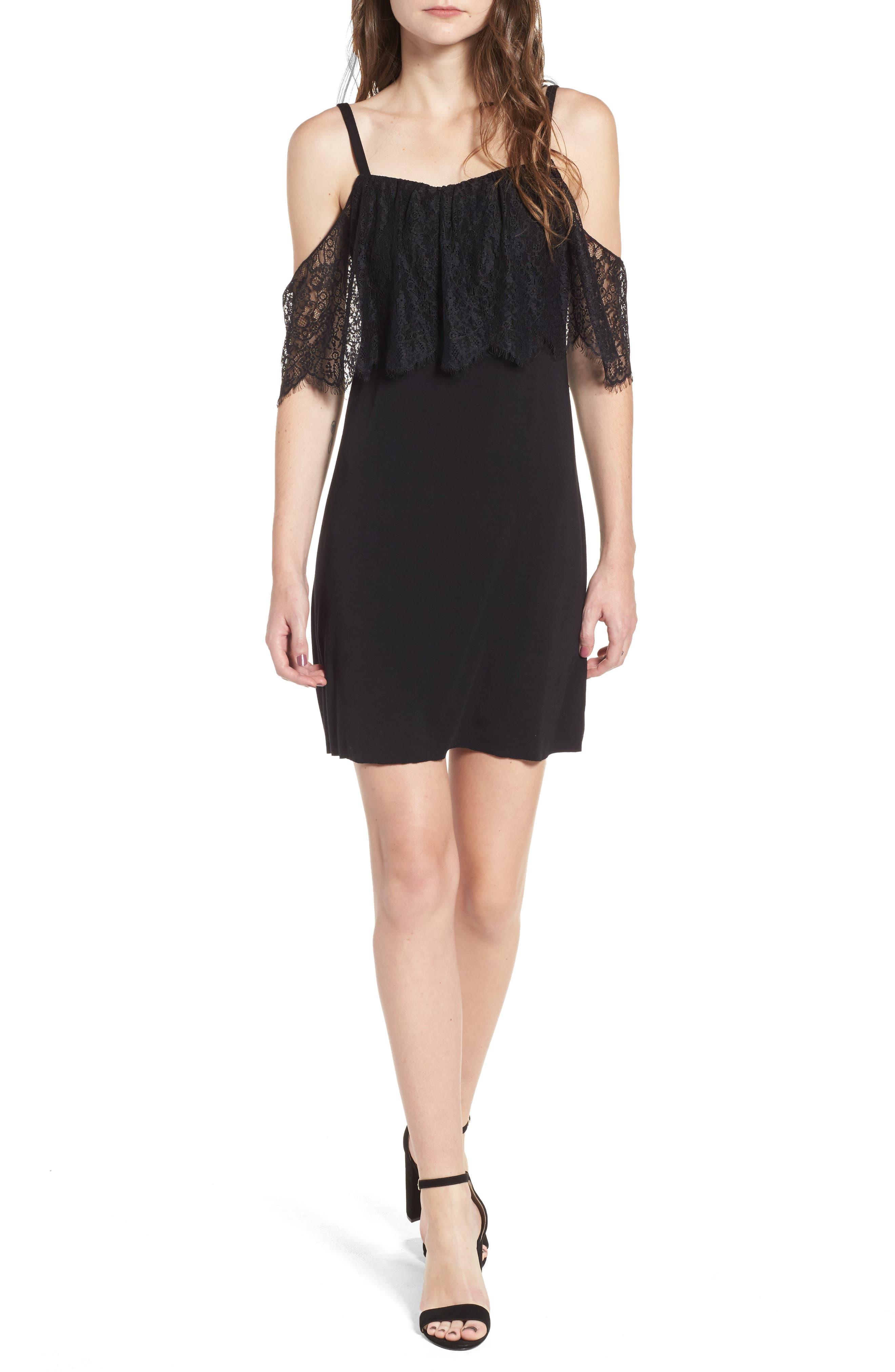 Dark Horse Cold Shoulder Dress,                         Main,                         color, 001