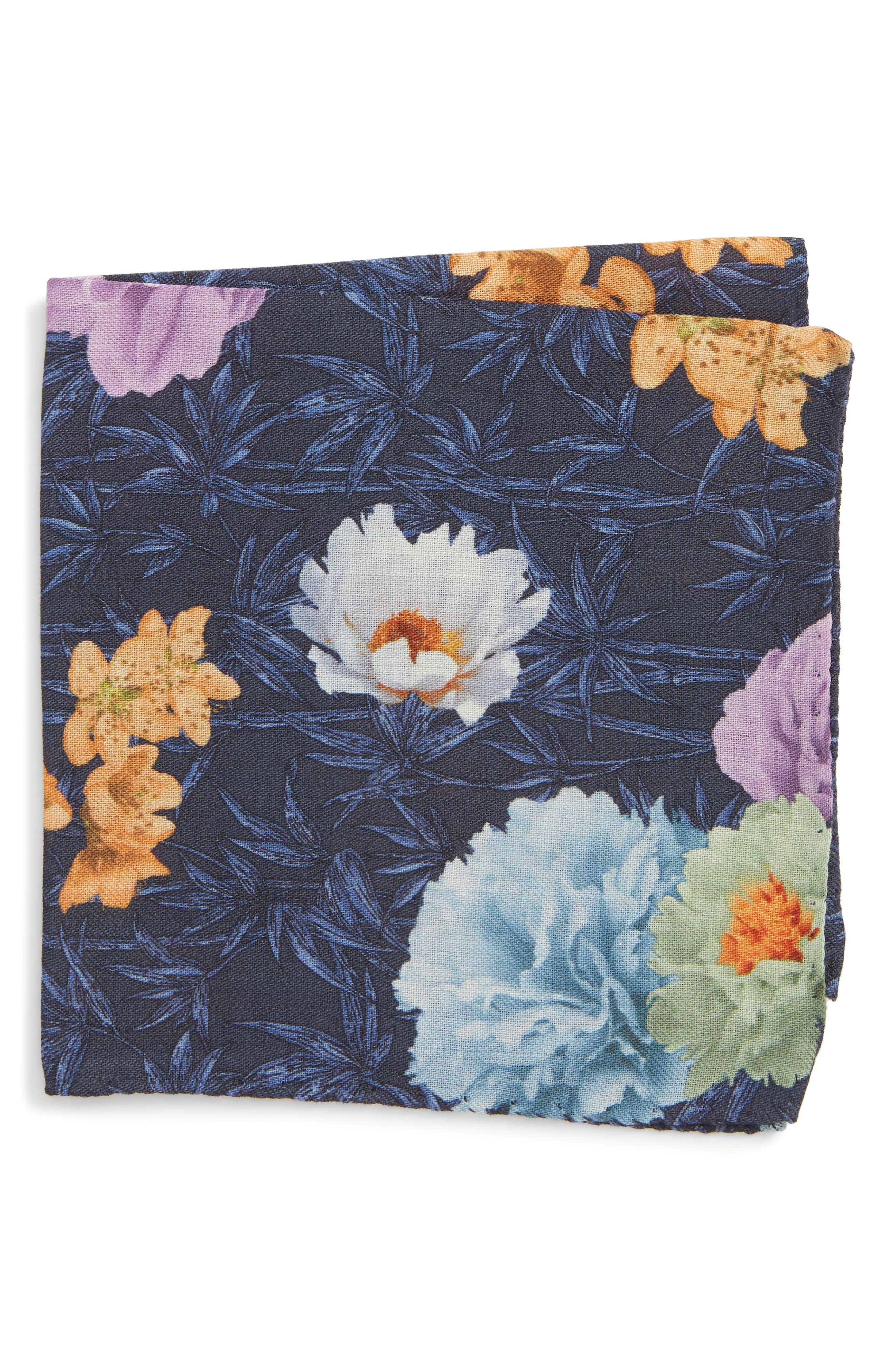 Print Wool Pocket Square,                         Main,                         color, NAVY