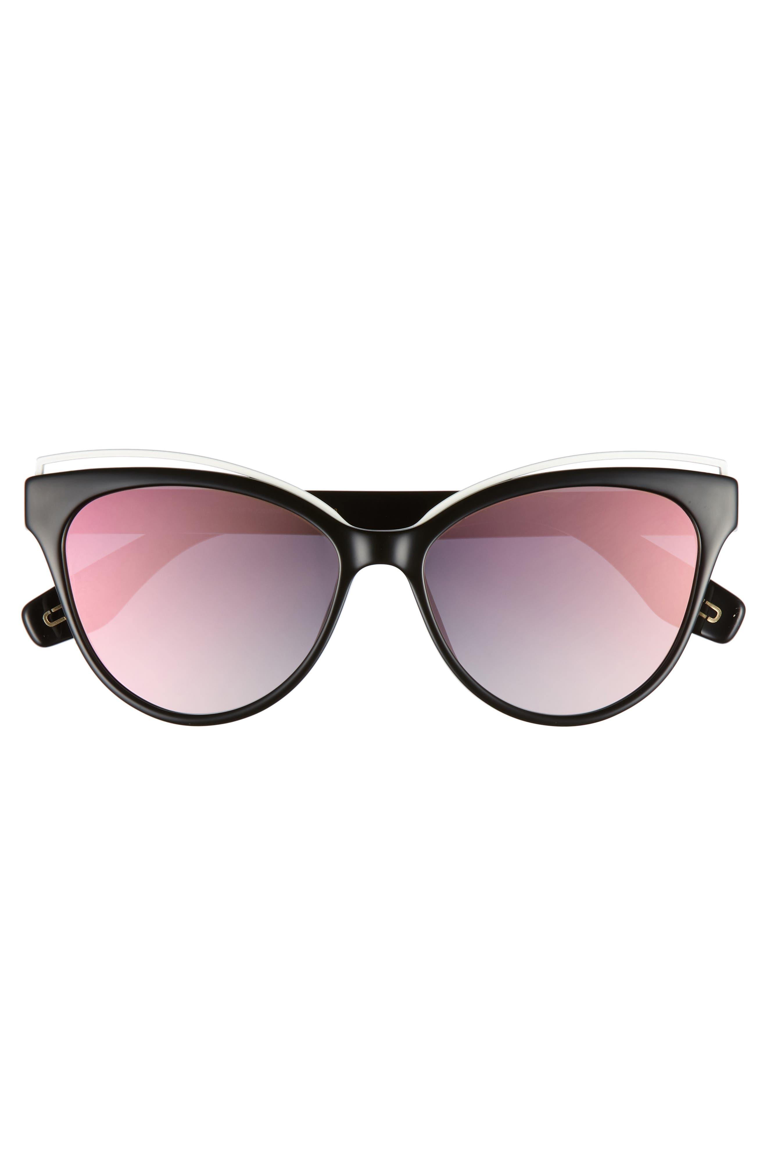 55mm Cat Eye Sunglasses,                             Alternate thumbnail 3, color,                             BLACK/ PINK