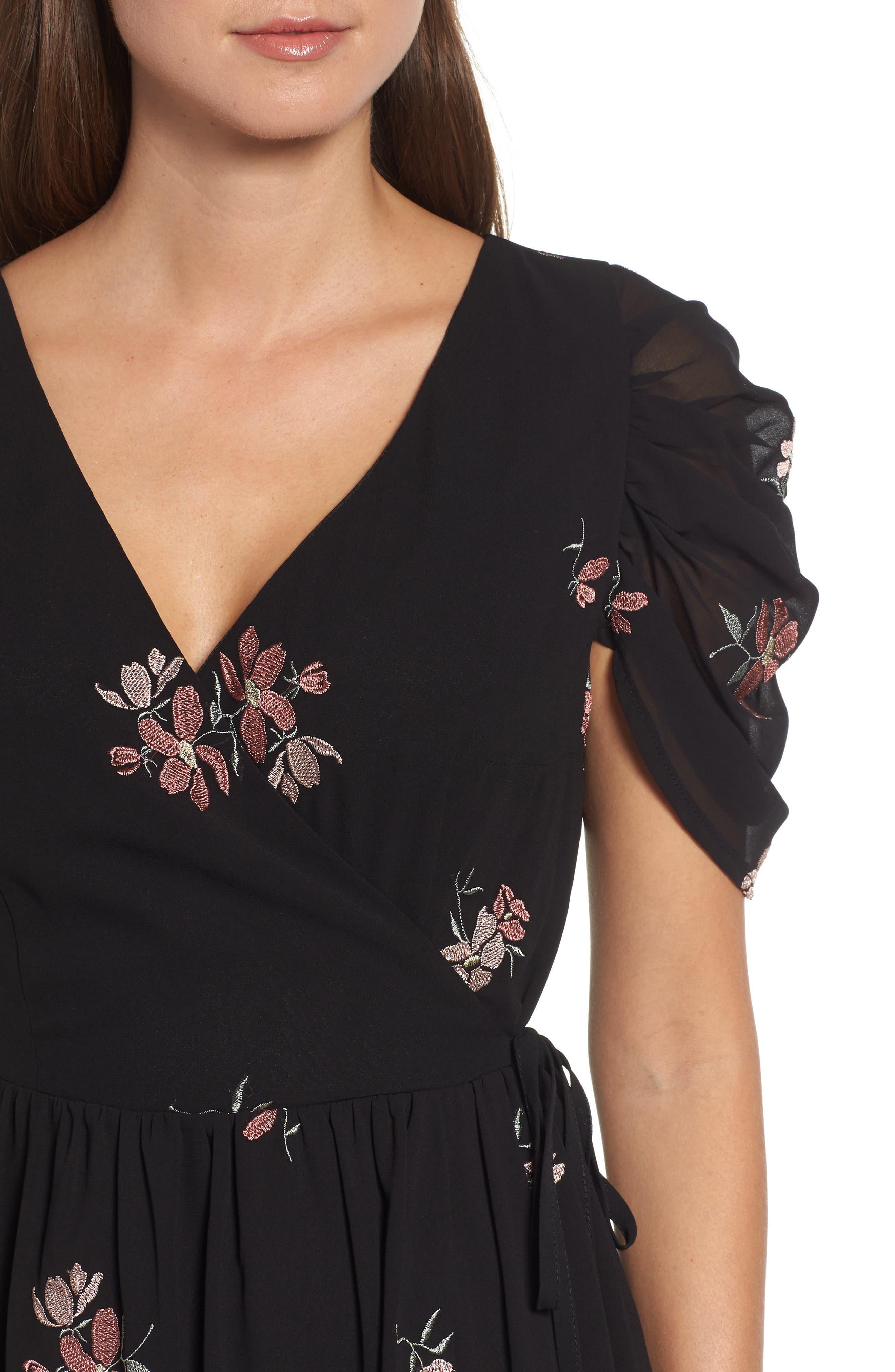 Floral Embroidered Wrap Midi Dress,                             Alternate thumbnail 4, color,                             BLACK