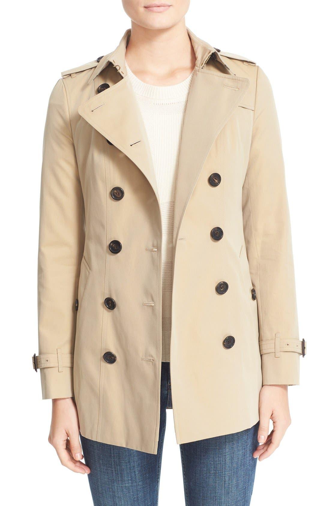 BURBERRY,                             Sandringham Short Slim Trench Coat,                             Main thumbnail 1, color,                             HONEY