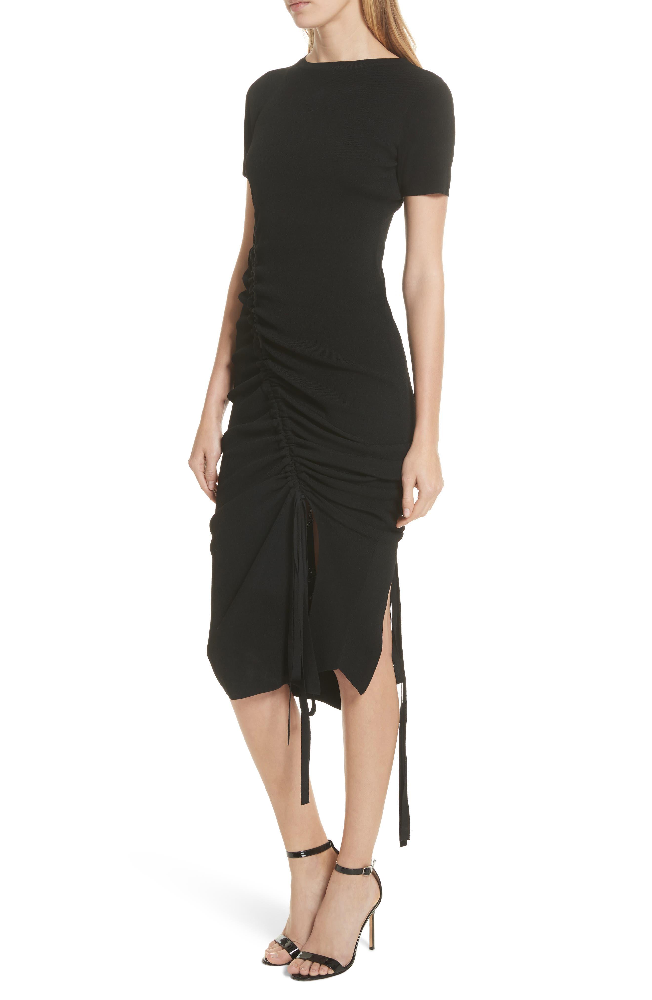 Ruched Midi Dress,                             Alternate thumbnail 4, color,                             001