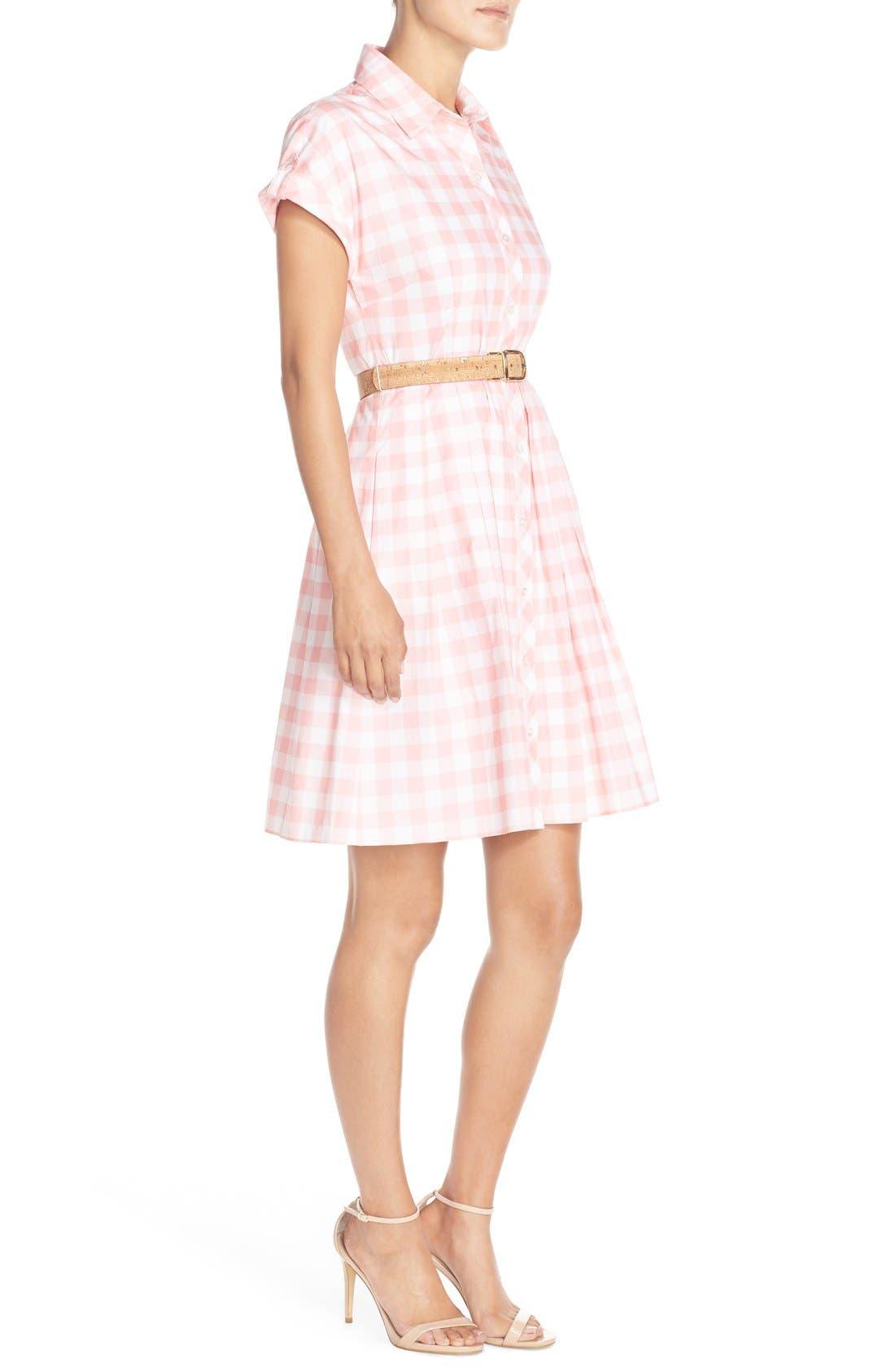 ELIZA J,                             Check Cotton Poplin Shirtdress,                             Alternate thumbnail 5, color,                             660