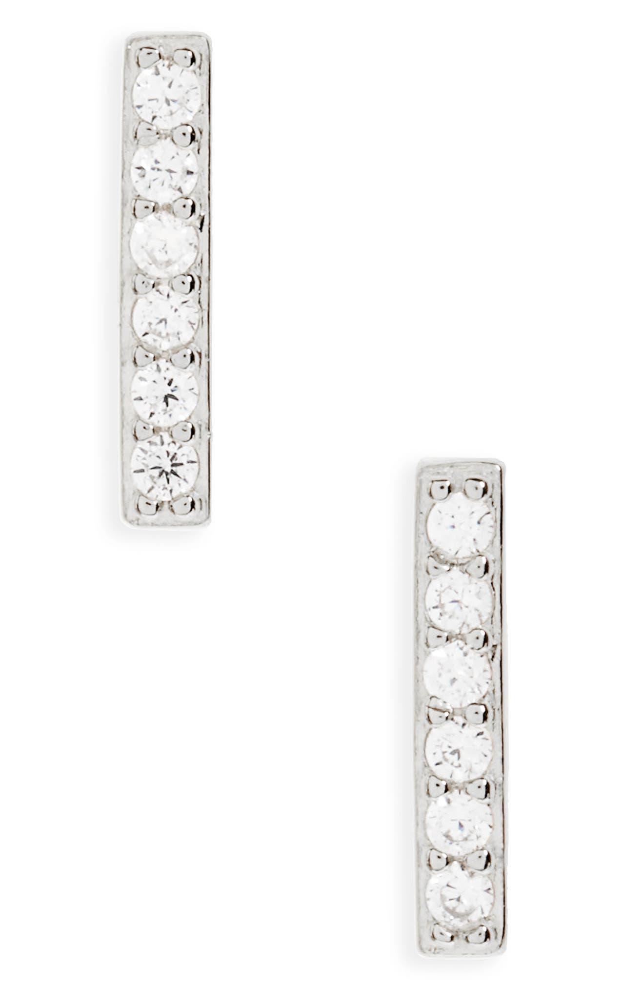 Precious Metal Plated Cubic Zirconia Bar Earrings,                             Main thumbnail 1, color,                             040