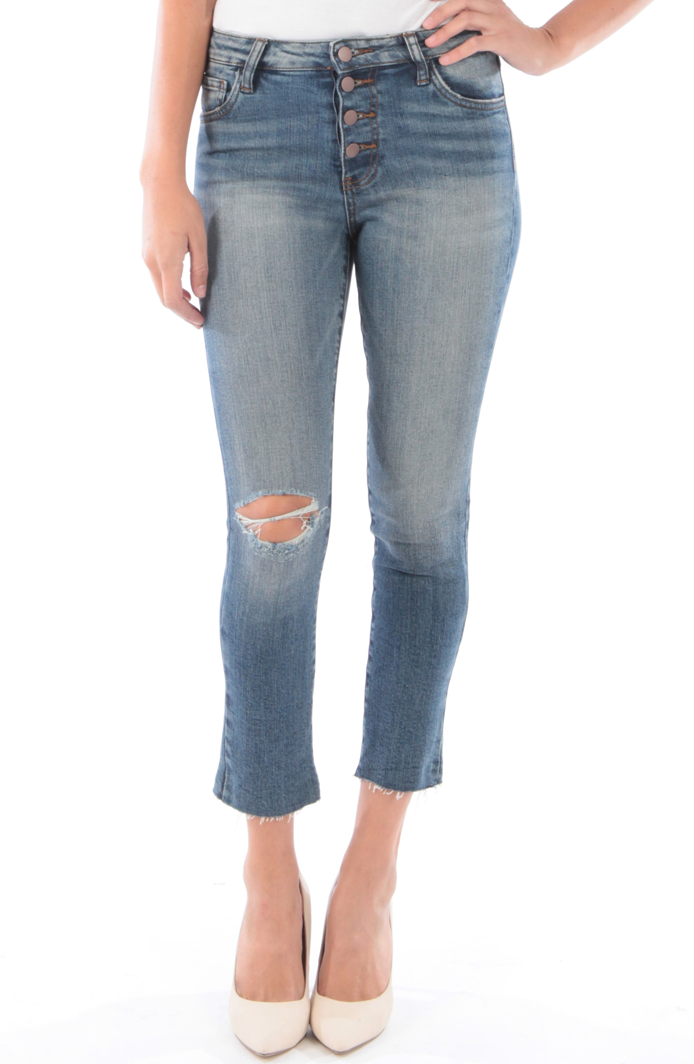 Kut From The Kloth Reese Ripped Ankle Straight Leg Jeans, Blue