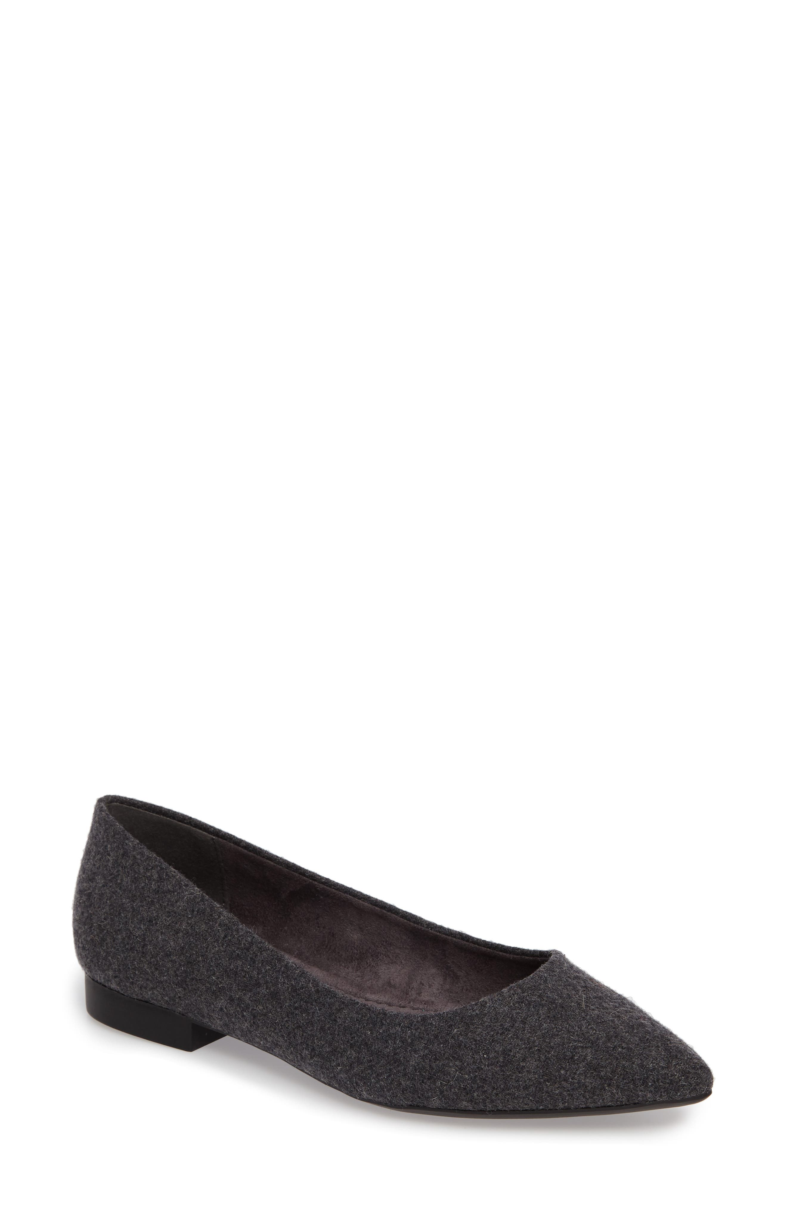 'Vivien' Pointy Toe Flat,                             Main thumbnail 1, color,                             GREY FLANNEL FABRIC