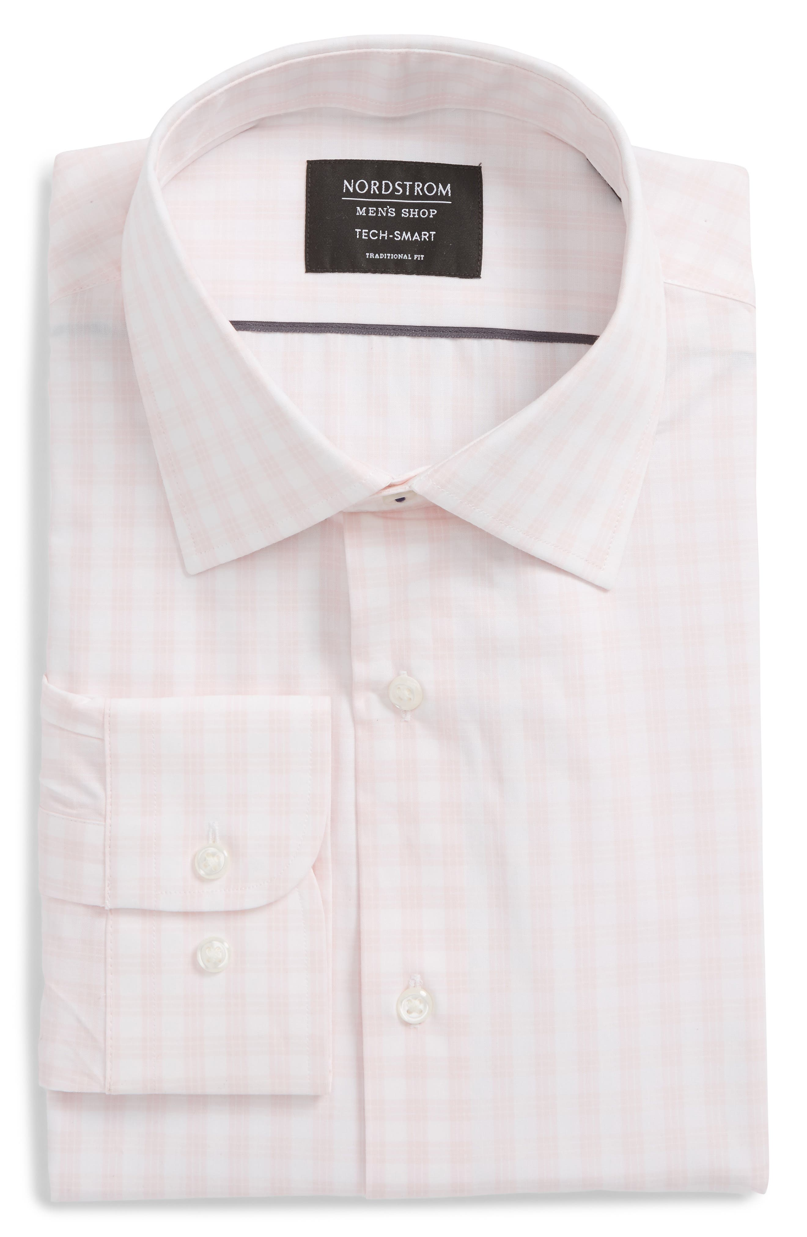 Tech Smart Traditional Fit Stretch Check Dress Shirt,                             Main thumbnail 2, color,