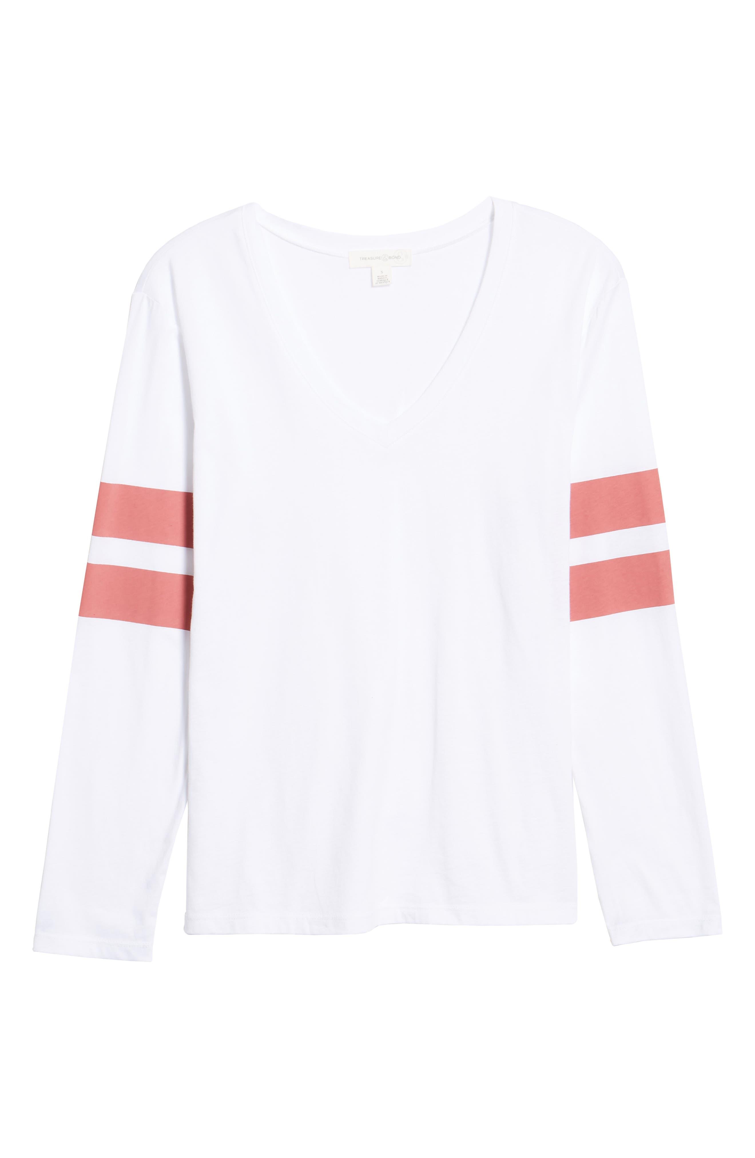Varsity Stripe Tee,                             Alternate thumbnail 7, color,                             WHITE- RED BAROQUE COMBO