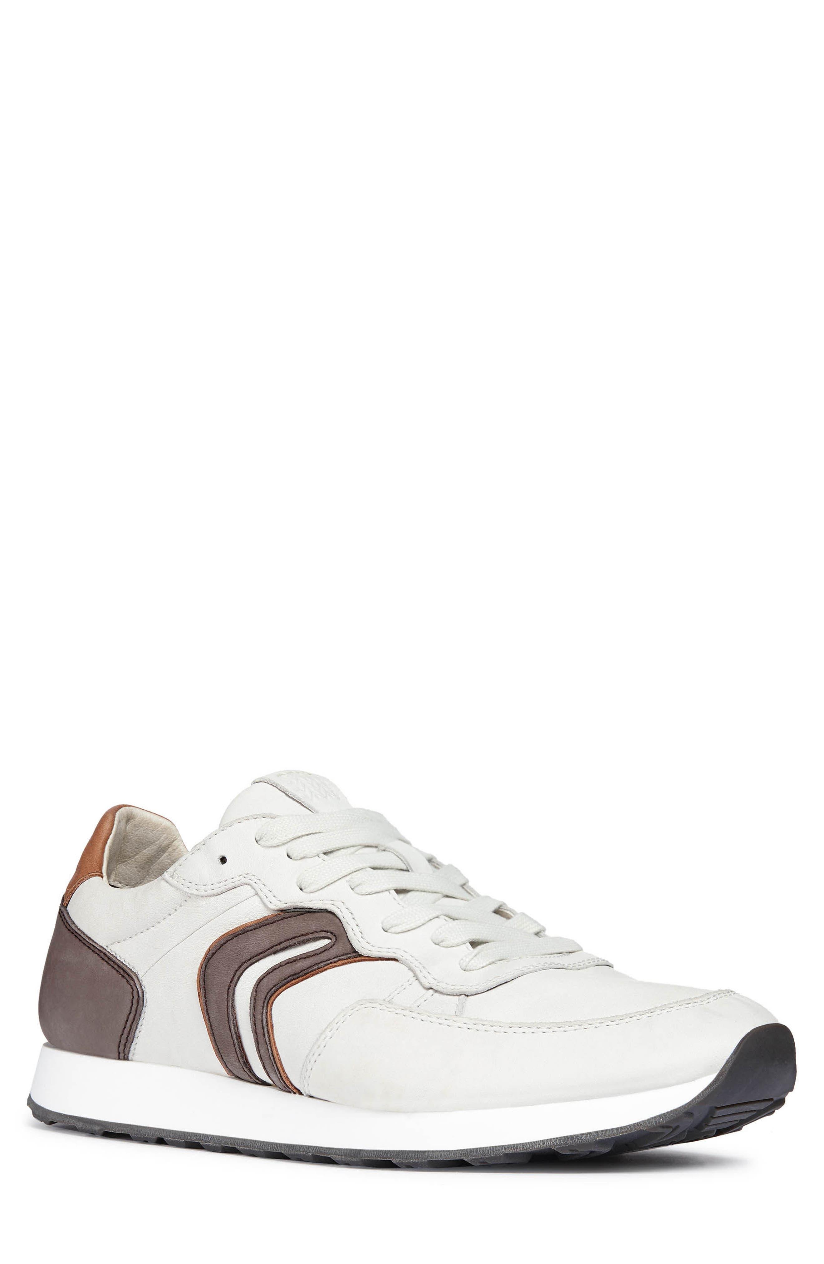 Vincint 1 Sneaker,                         Main,                         color, WHITE/ DARK COFFEE LEATHER