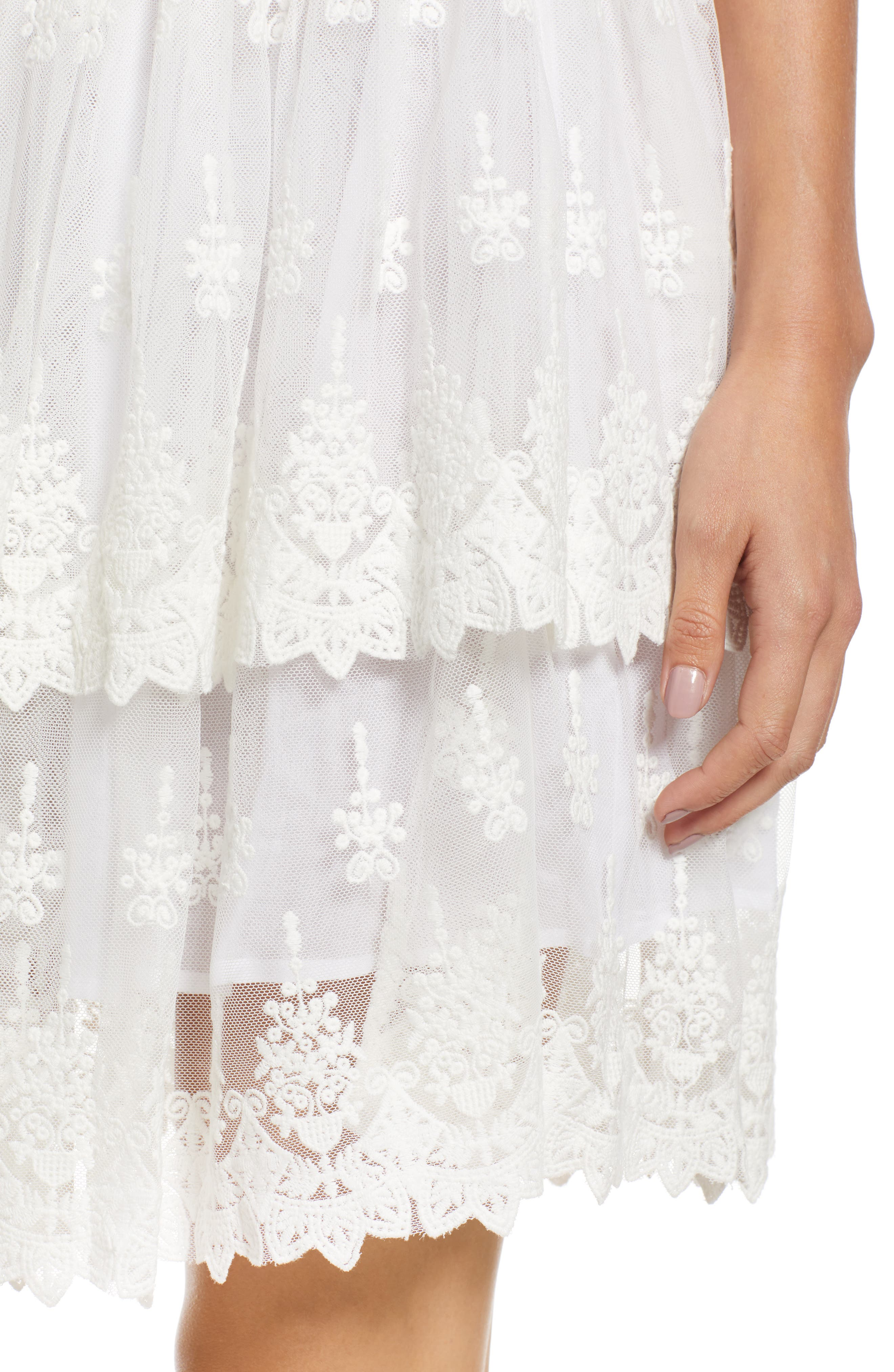 Francine Tiered Lace Skirt,                             Alternate thumbnail 4, color,                             WHITE