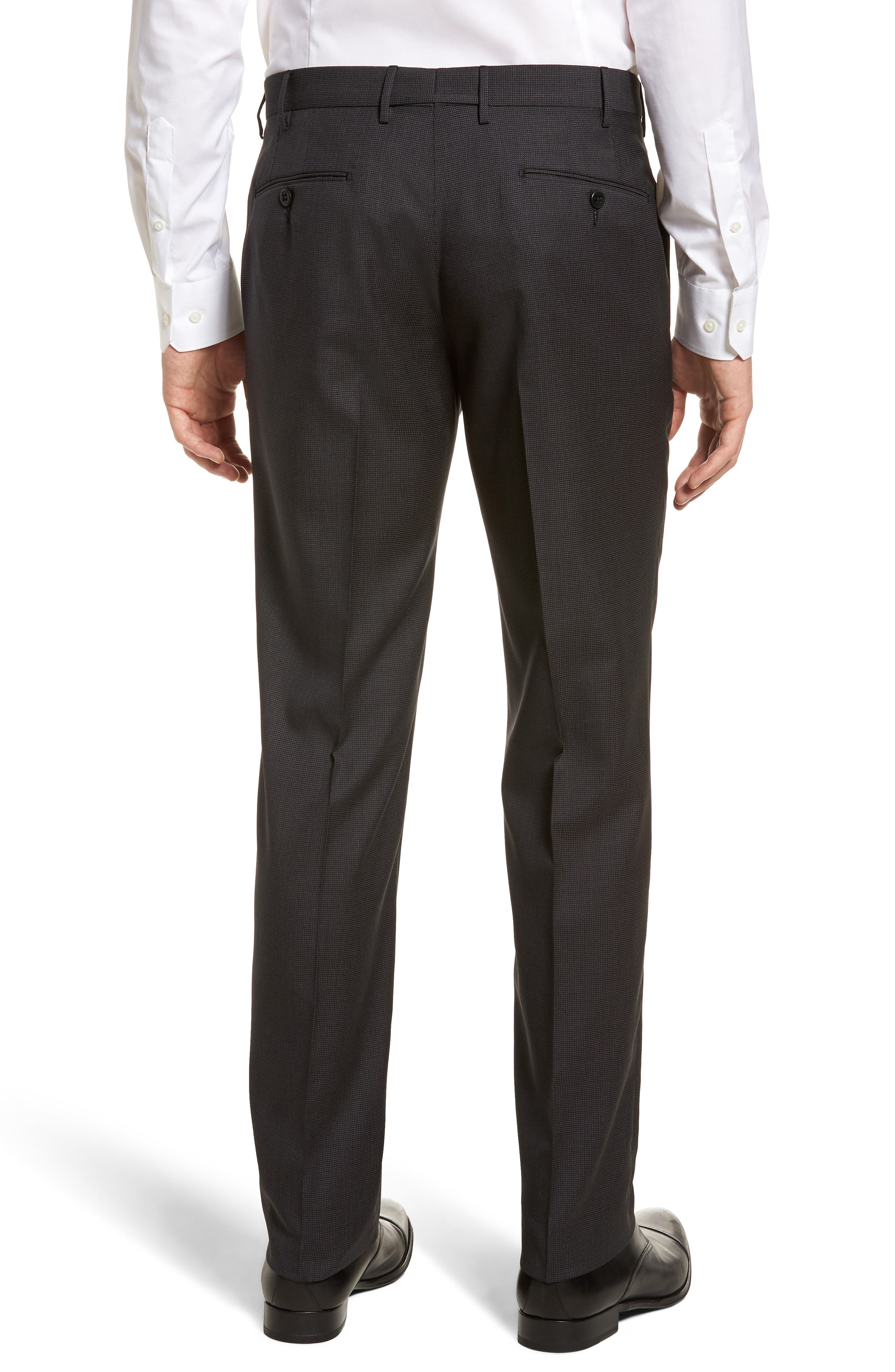 Parker Flat Front Pindot Wool Trousers,                             Alternate thumbnail 2, color,                             020