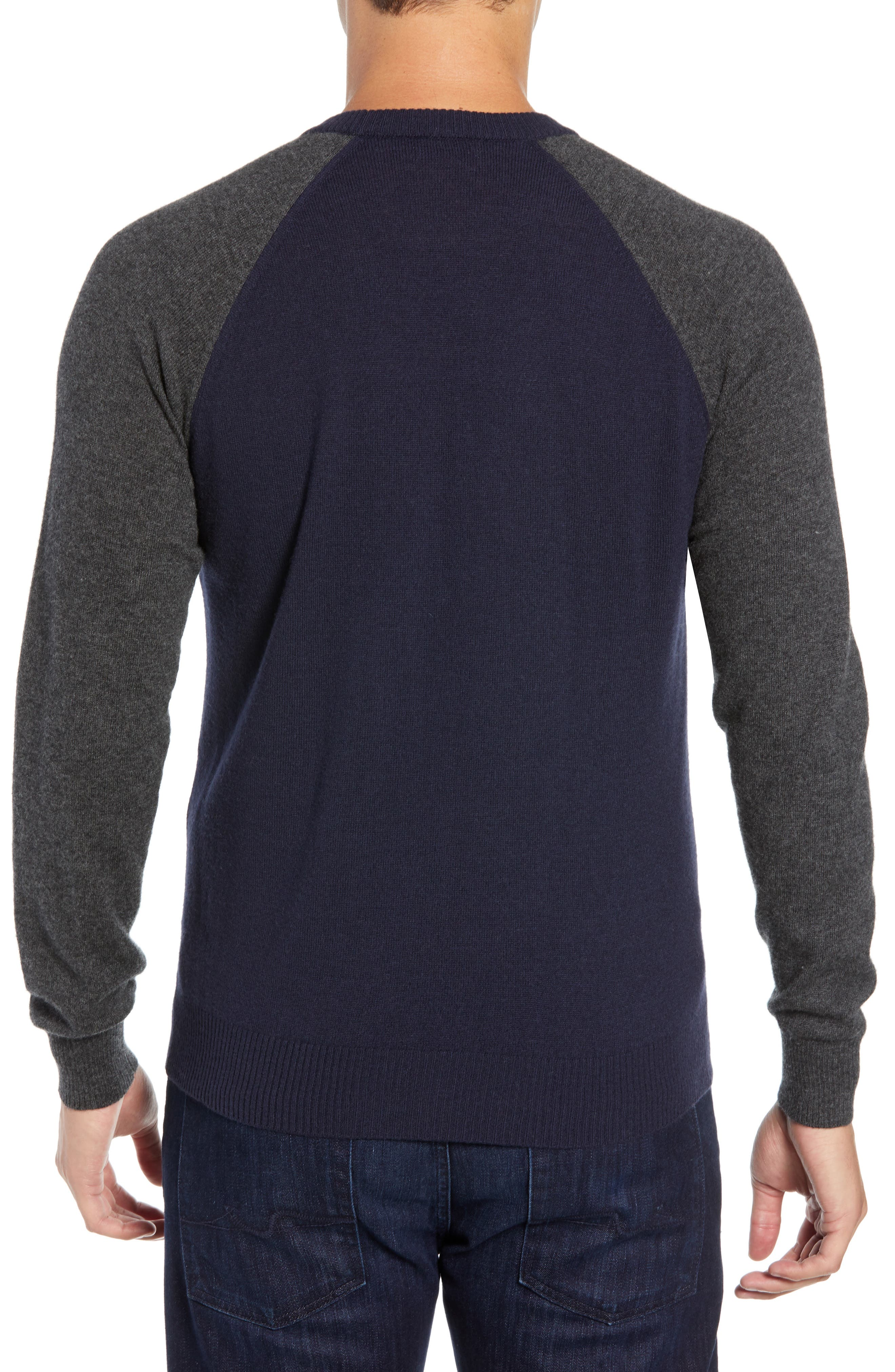 Active Crewneck Wool & Cashmere Sweater,                             Alternate thumbnail 2, color,                             NAVY