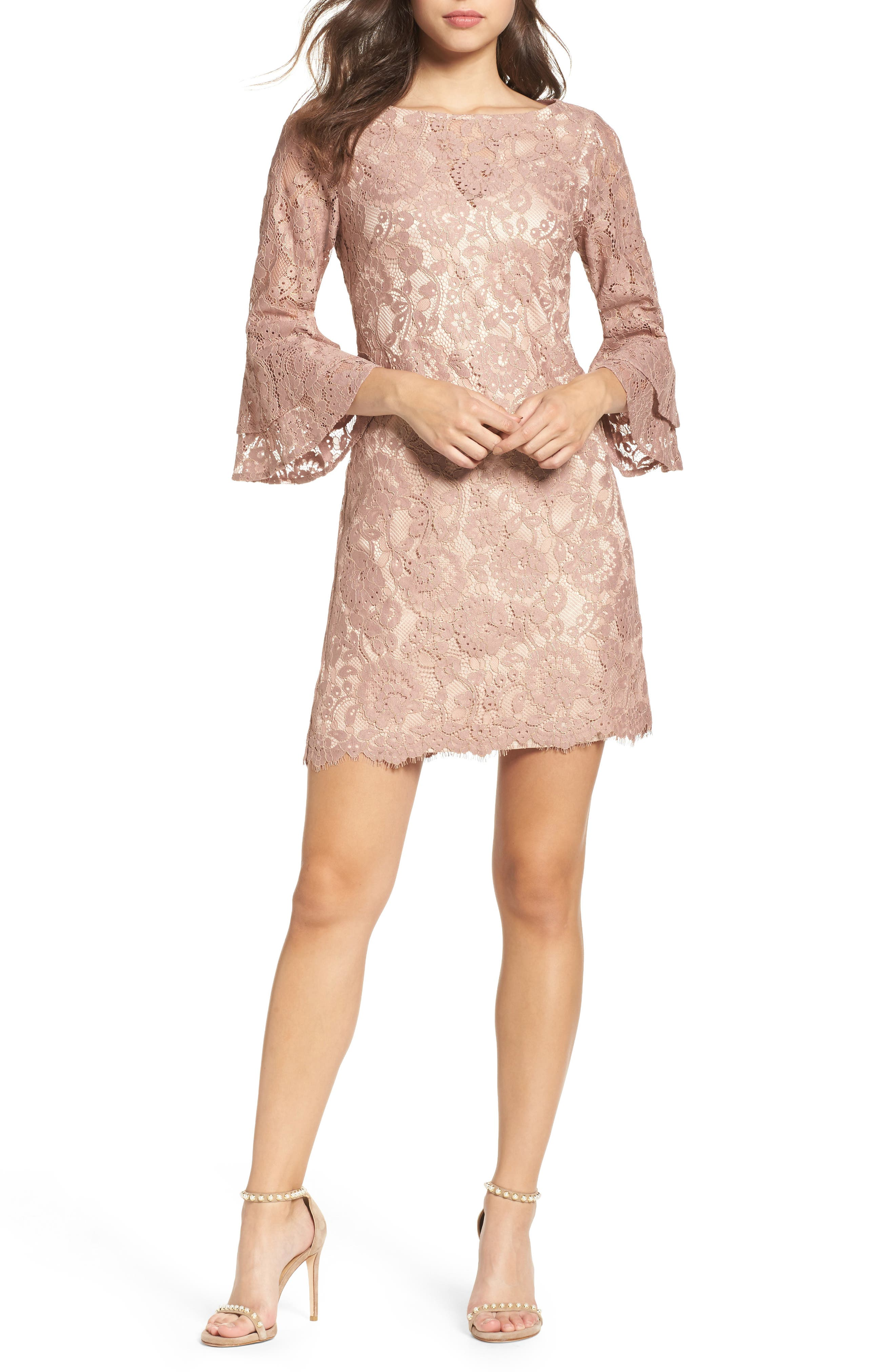 Lace Bell Sleeve Dress,                             Main thumbnail 1, color,                             684