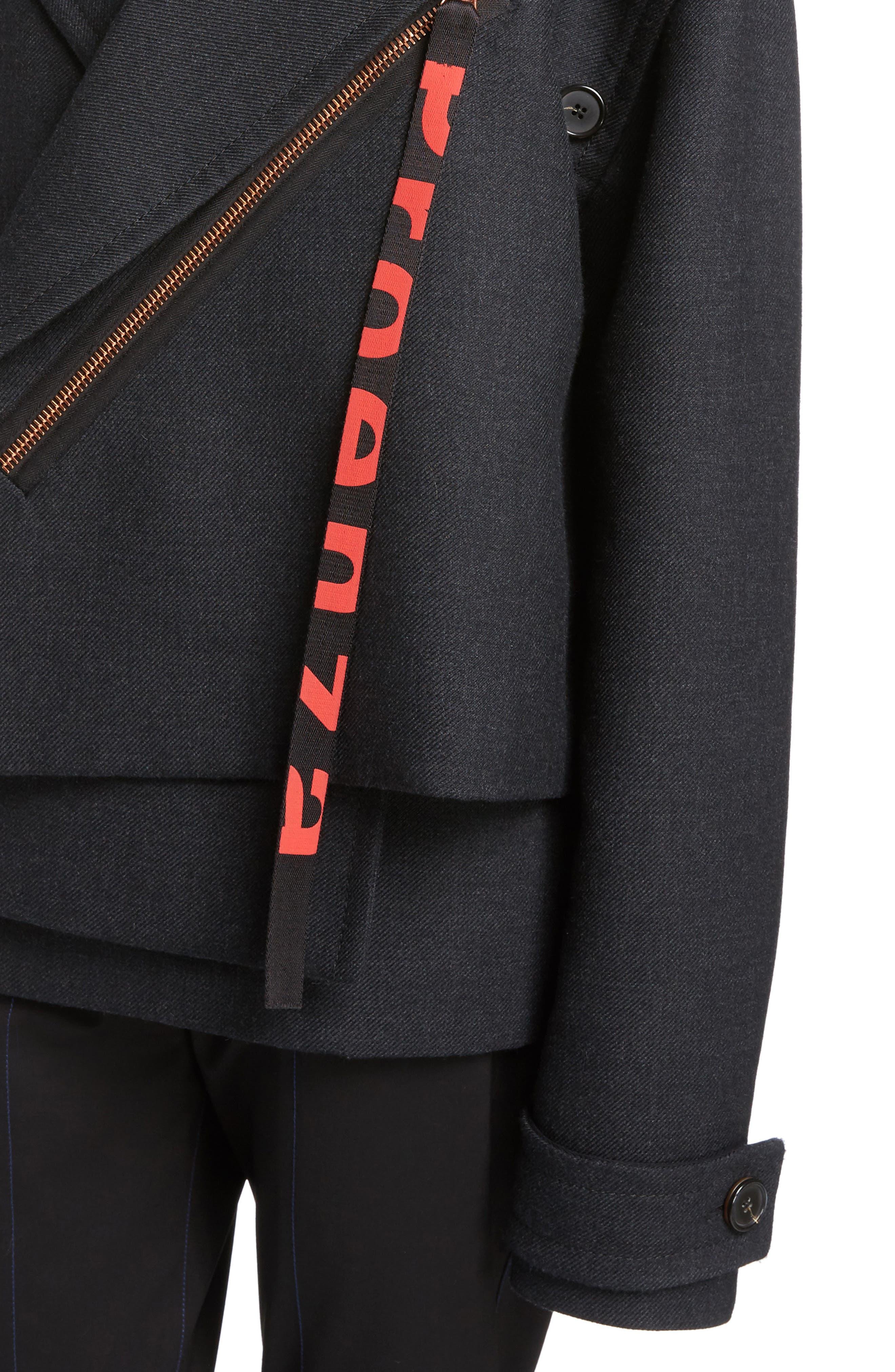 Stretch Wool Asymmetrical Coat,                             Alternate thumbnail 4, color,                             042