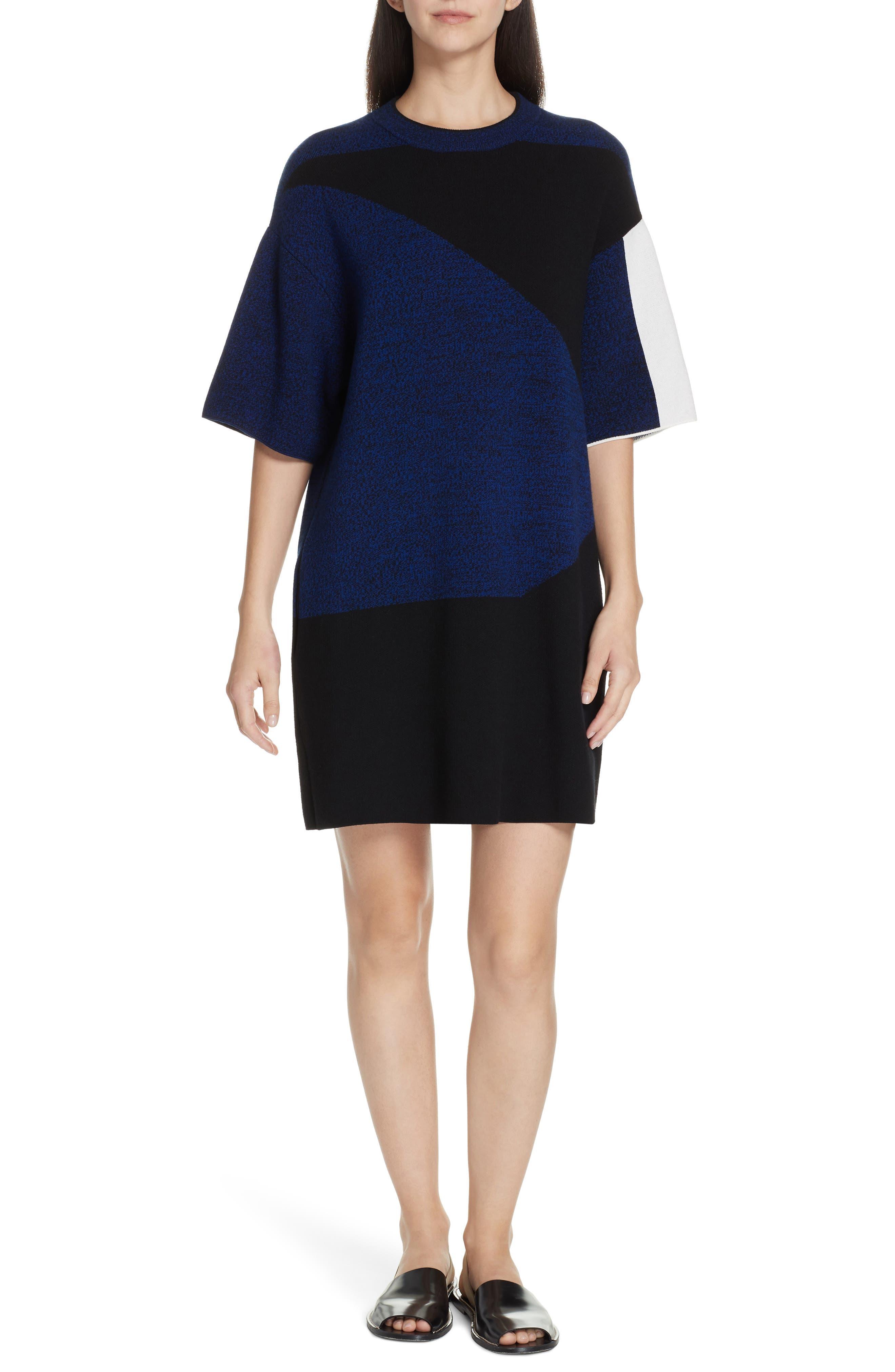 Proenza Schouler Pswl Colorblock Jacquard Shift Dress, Blue