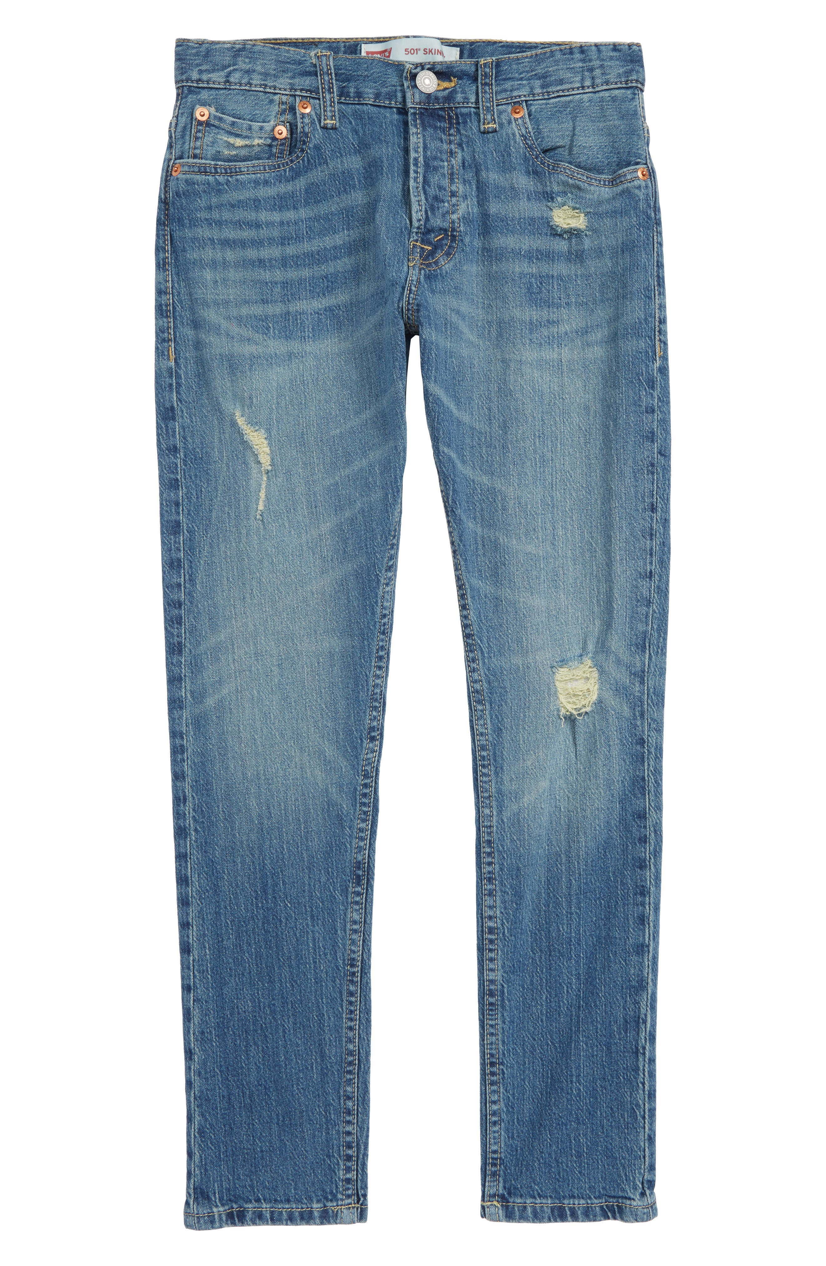 501<sup>®</sup> Skinny Jeans,                         Main,                         color, BLUE