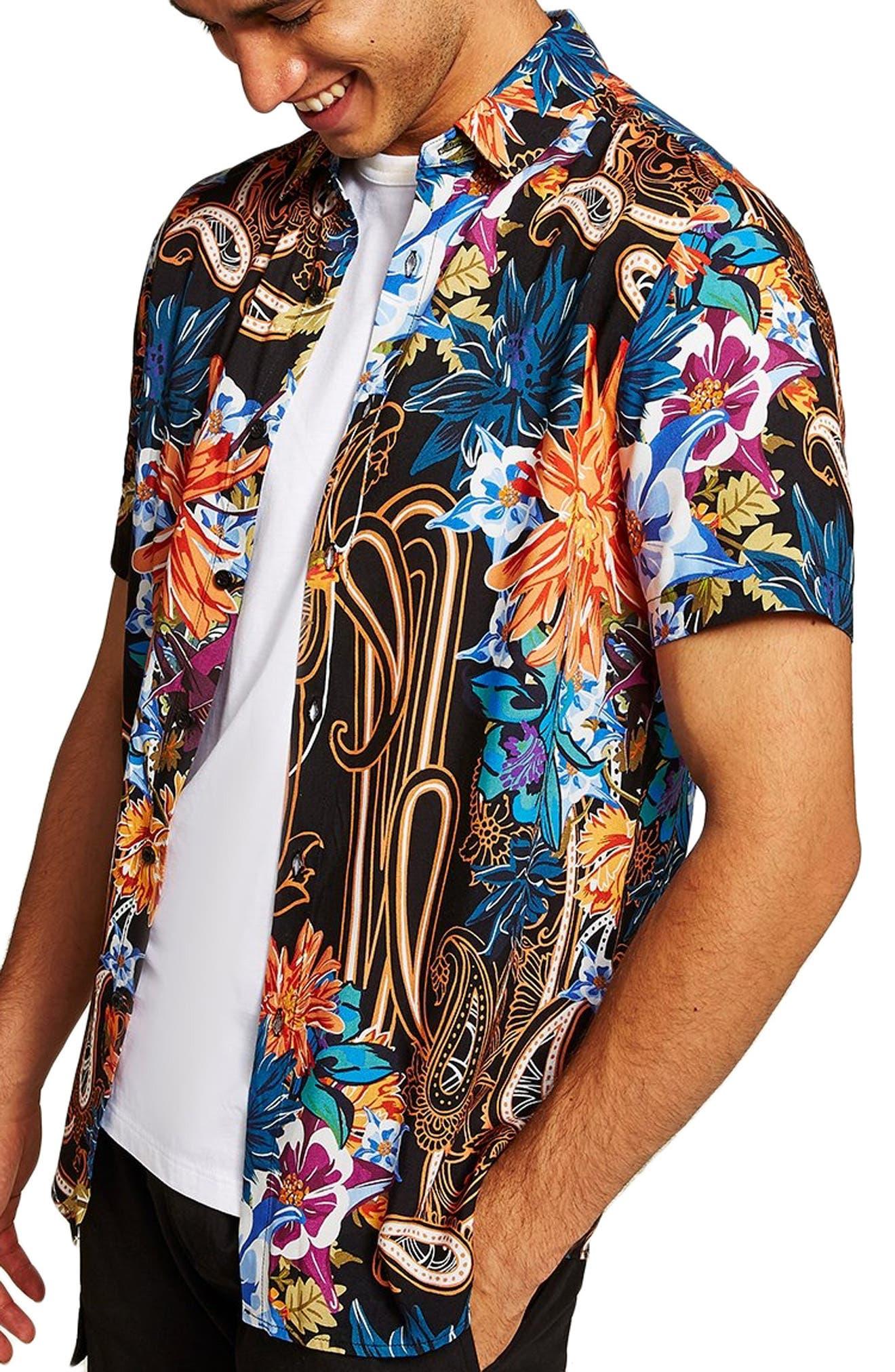 Floral Paisley Shirt,                             Alternate thumbnail 4, color,                             BLACK MULTI