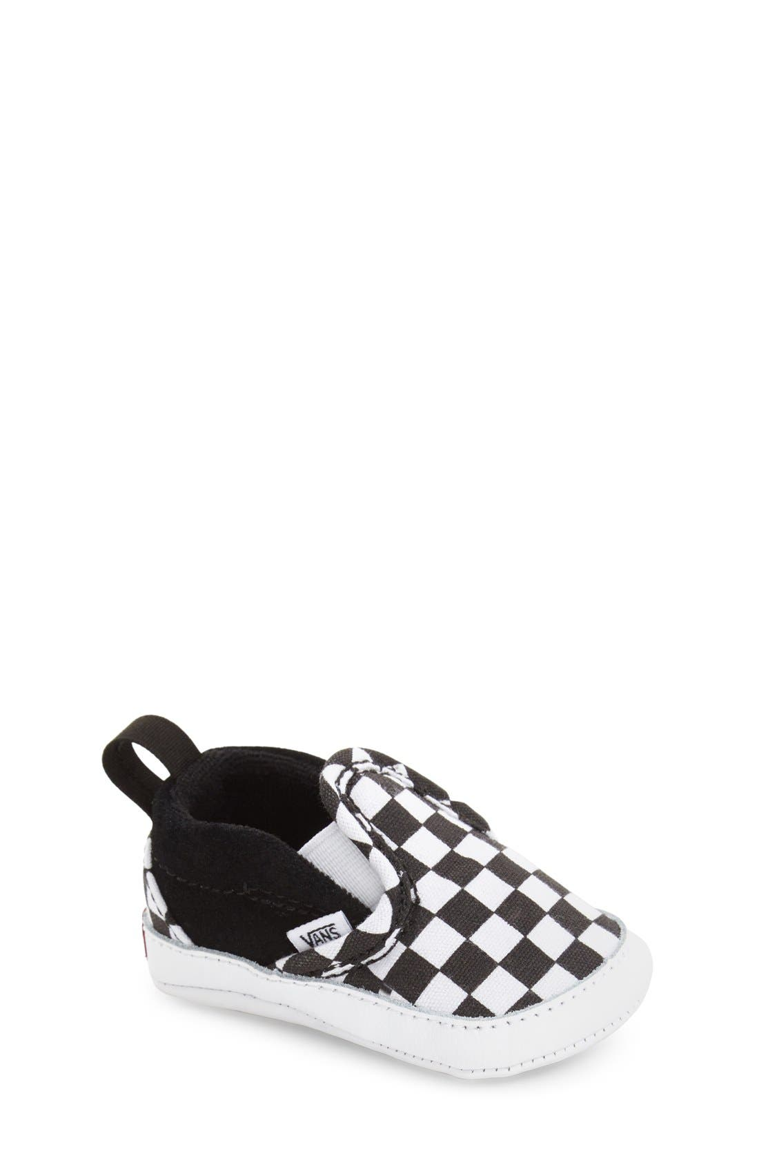 Slip-On Crib Shoe,                         Main,                         color, CHECKER BLACK TRUE WHITE