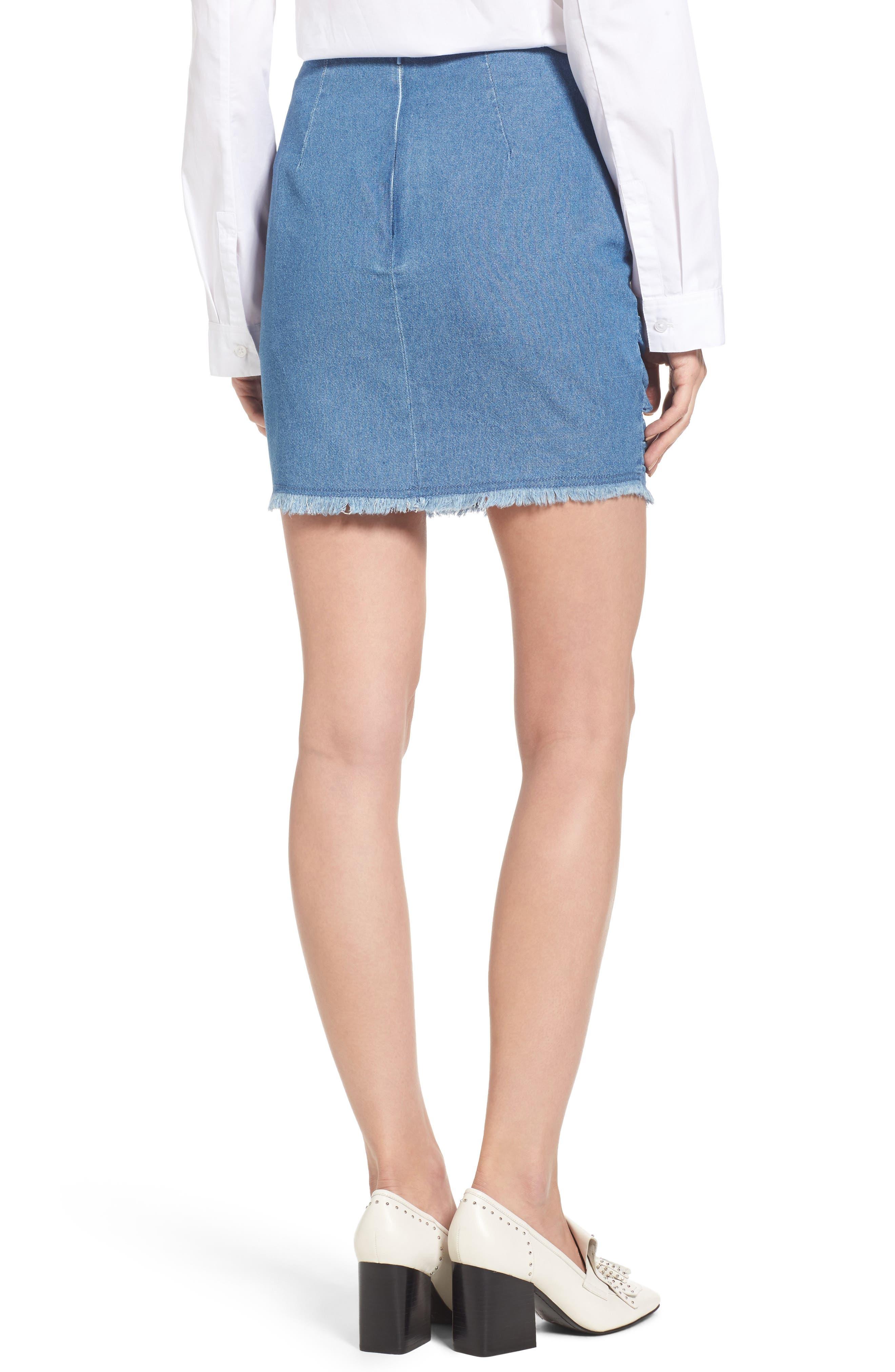 Ruffle Denim Miniskirt,                             Alternate thumbnail 2, color,                             459