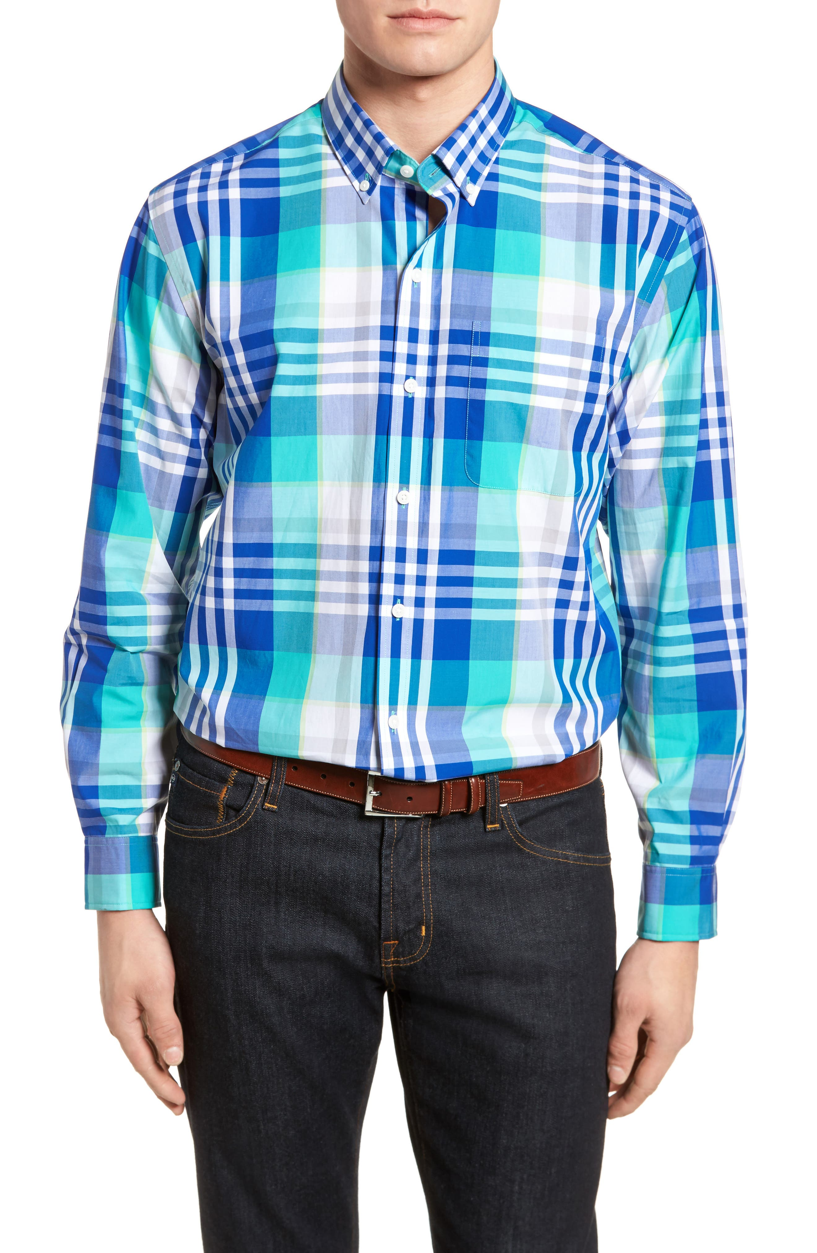 Cooper Classic Fit Non-Iron Plaid Sport Shirt,                         Main,                         color,