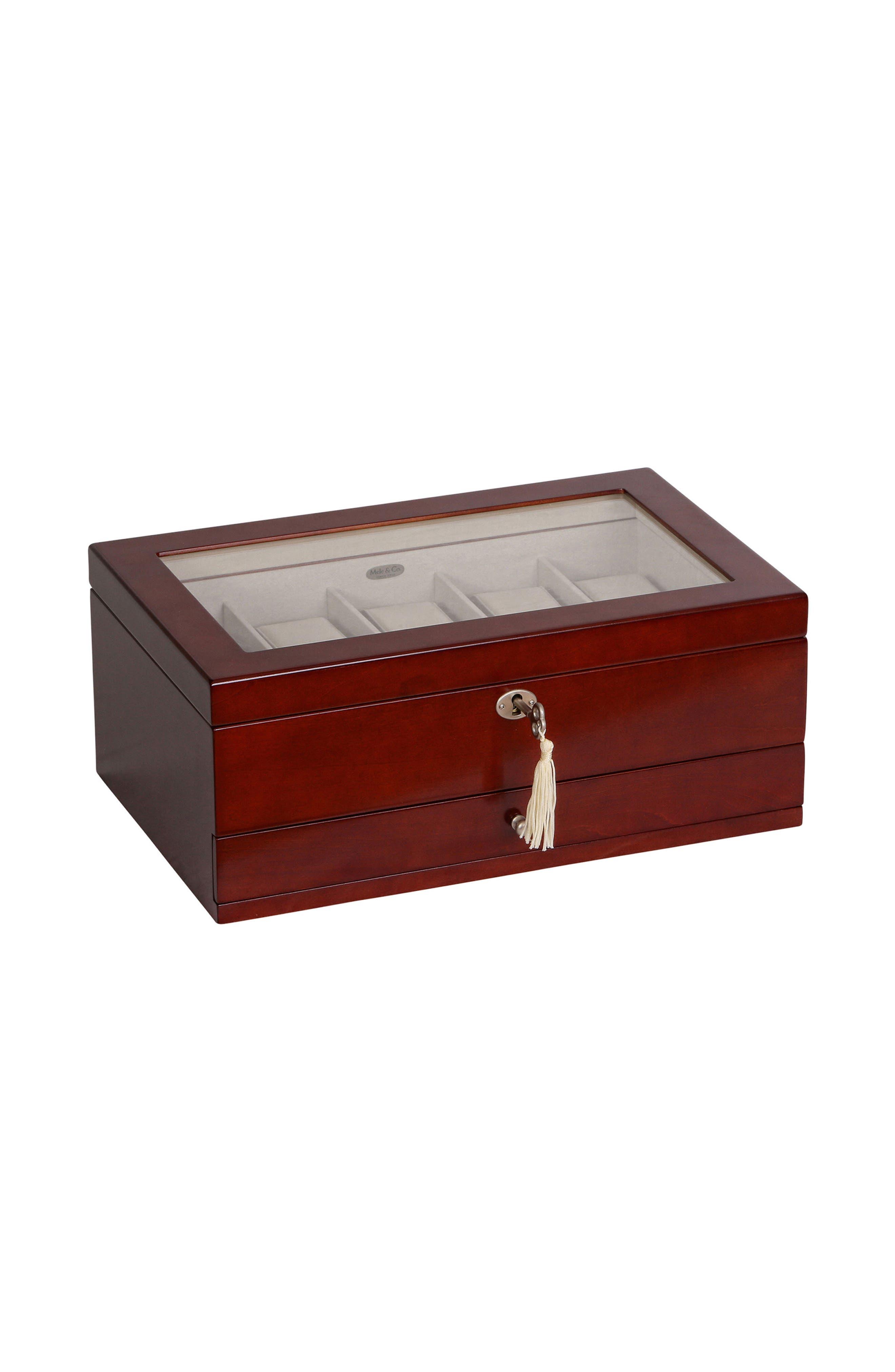 Christo Locking Watch & Jewelry Box,                             Alternate thumbnail 2, color,                             BROWN