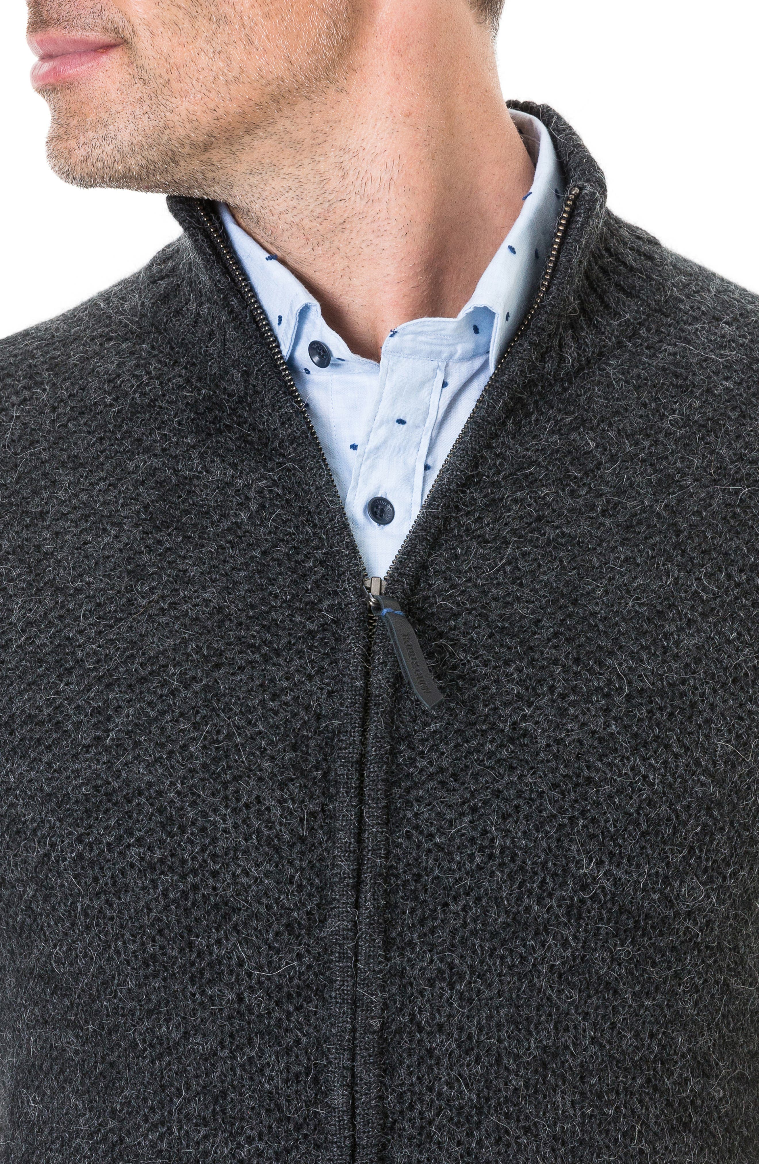 Bendrose Wool Blend Zip Cardigan,                             Alternate thumbnail 3, color,                             CHARCOAL