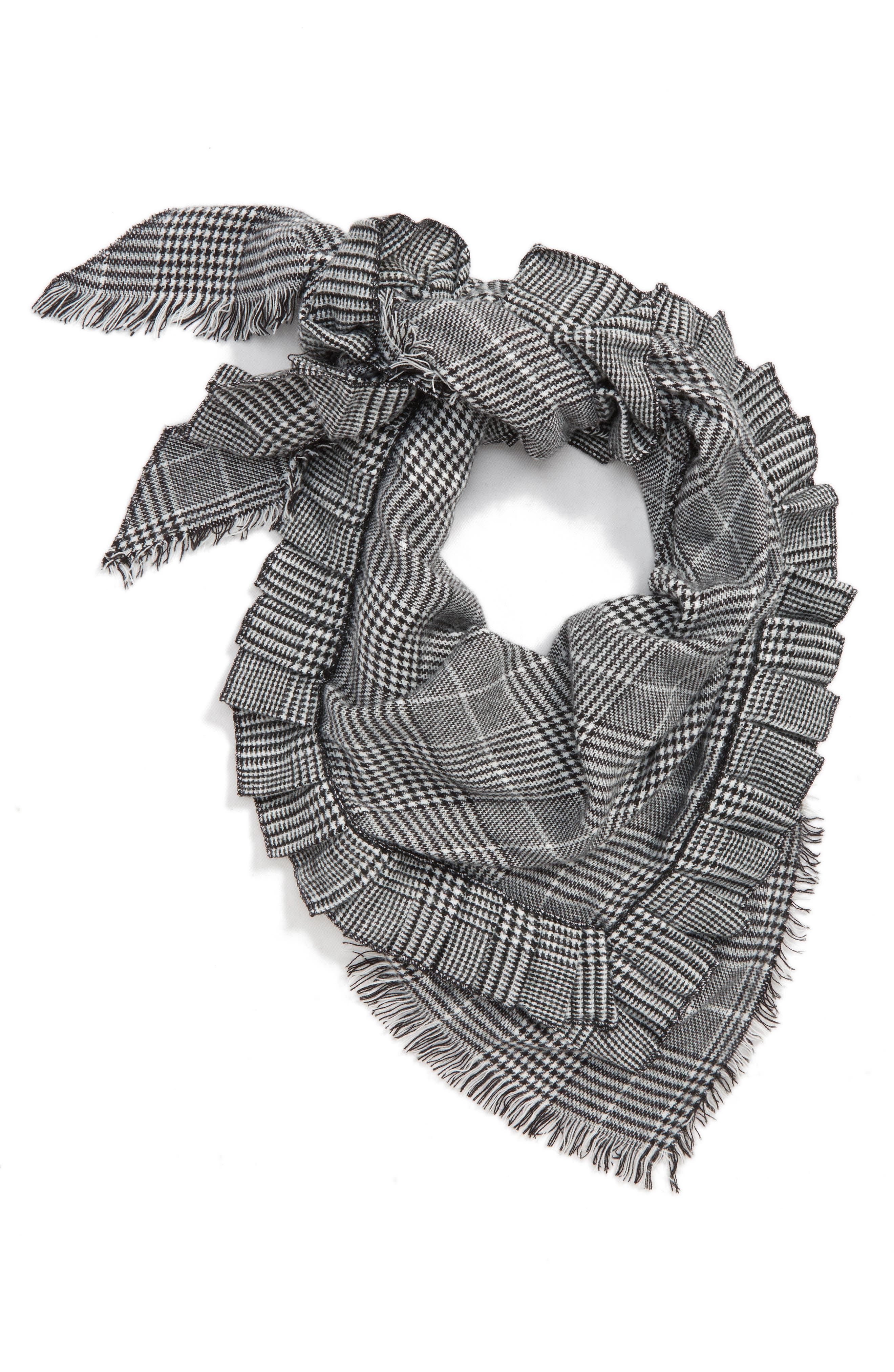 Ruffle Plaid Triangle Scarf,                             Main thumbnail 1, color,                             001