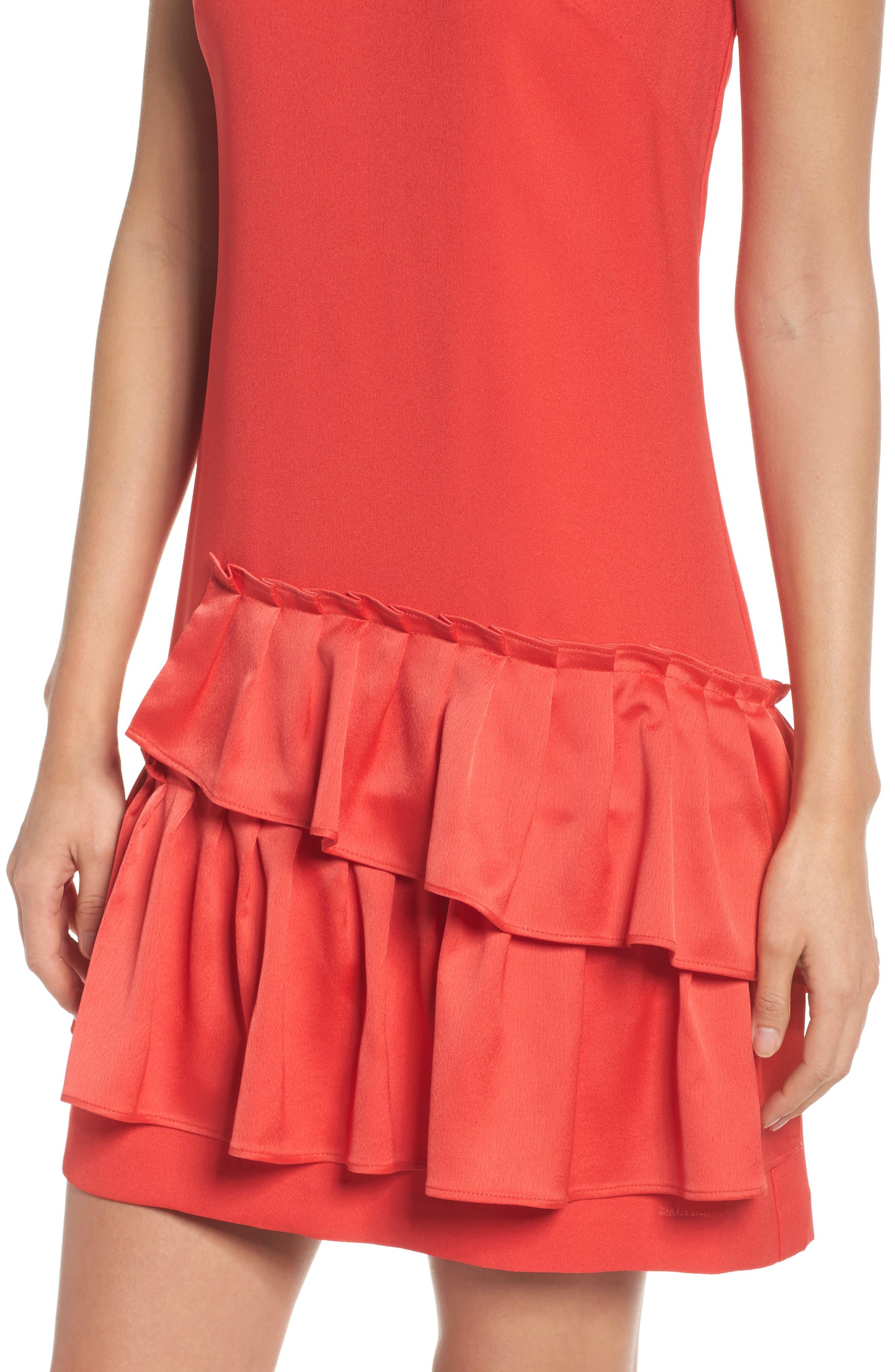 Ruffle Hem Sheath Dress,                             Alternate thumbnail 4, color,                             950