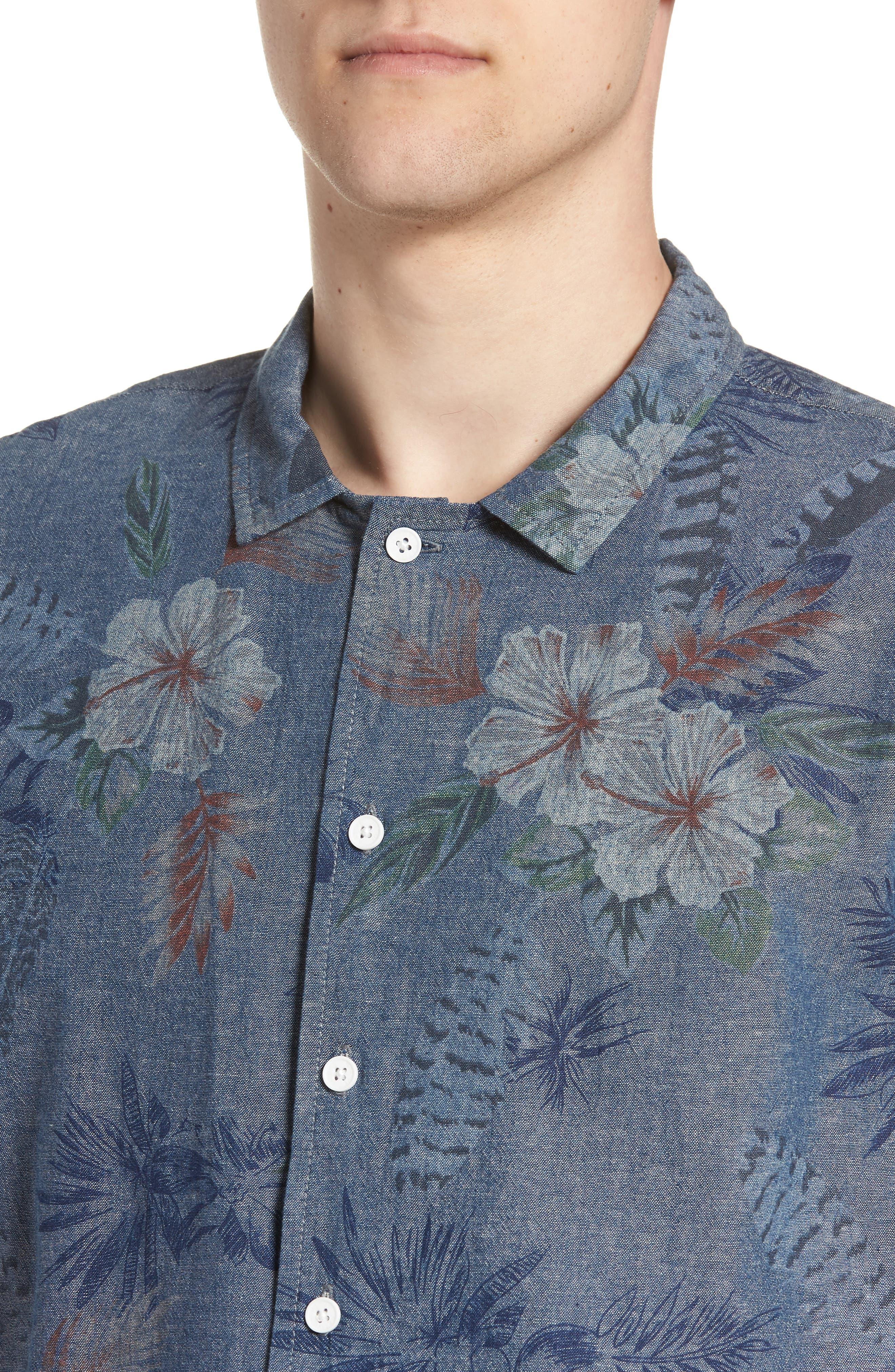 Floral Sketch Short Sleeve Sport Shirt,                             Alternate thumbnail 2, color,                             400