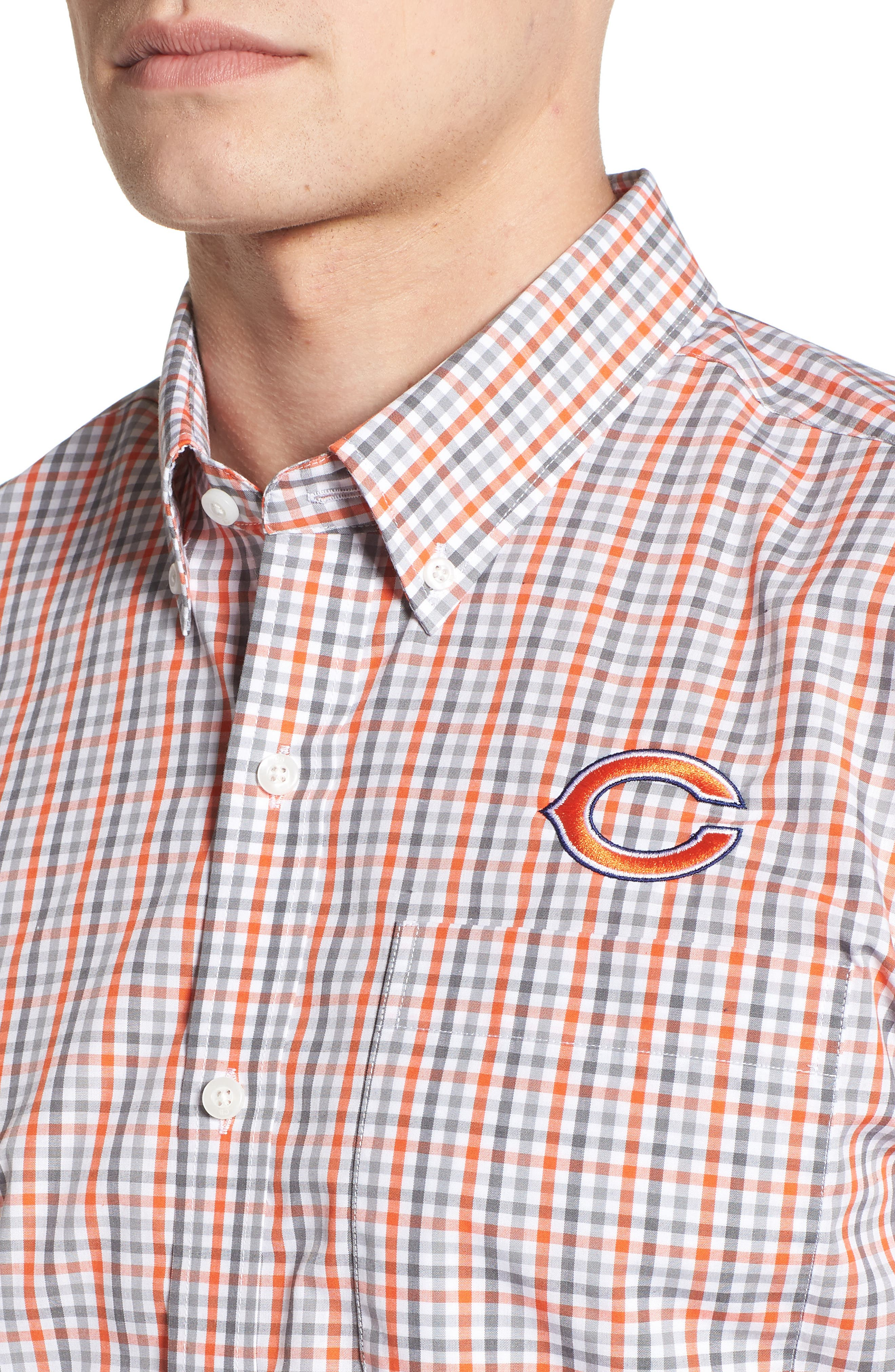 Chicago Bears - Gilman Regular Fit Plaid Sport Shirt,                             Alternate thumbnail 4, color,                             COLLEGE ORANGE