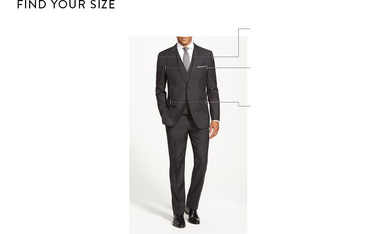 "For example, if you have a 38"" chest, you would wear a men suits size 38 suit. TO CONFIRM YOUR SUIT SIZE: Measure your waist or the waistband of a comfortable, well fitting pair of ."