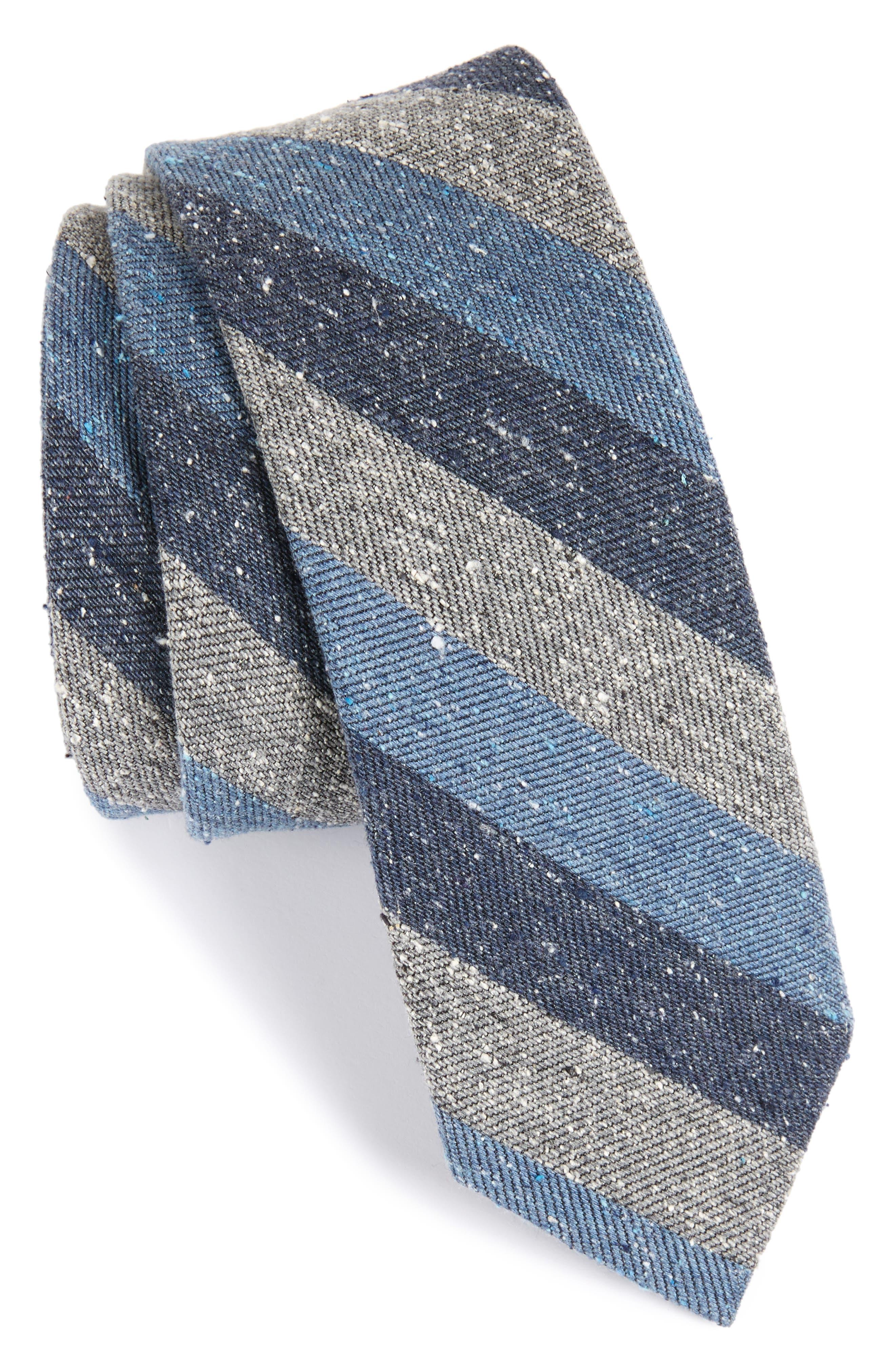 Varios Stripe Silk Skinny Tie,                             Main thumbnail 2, color,