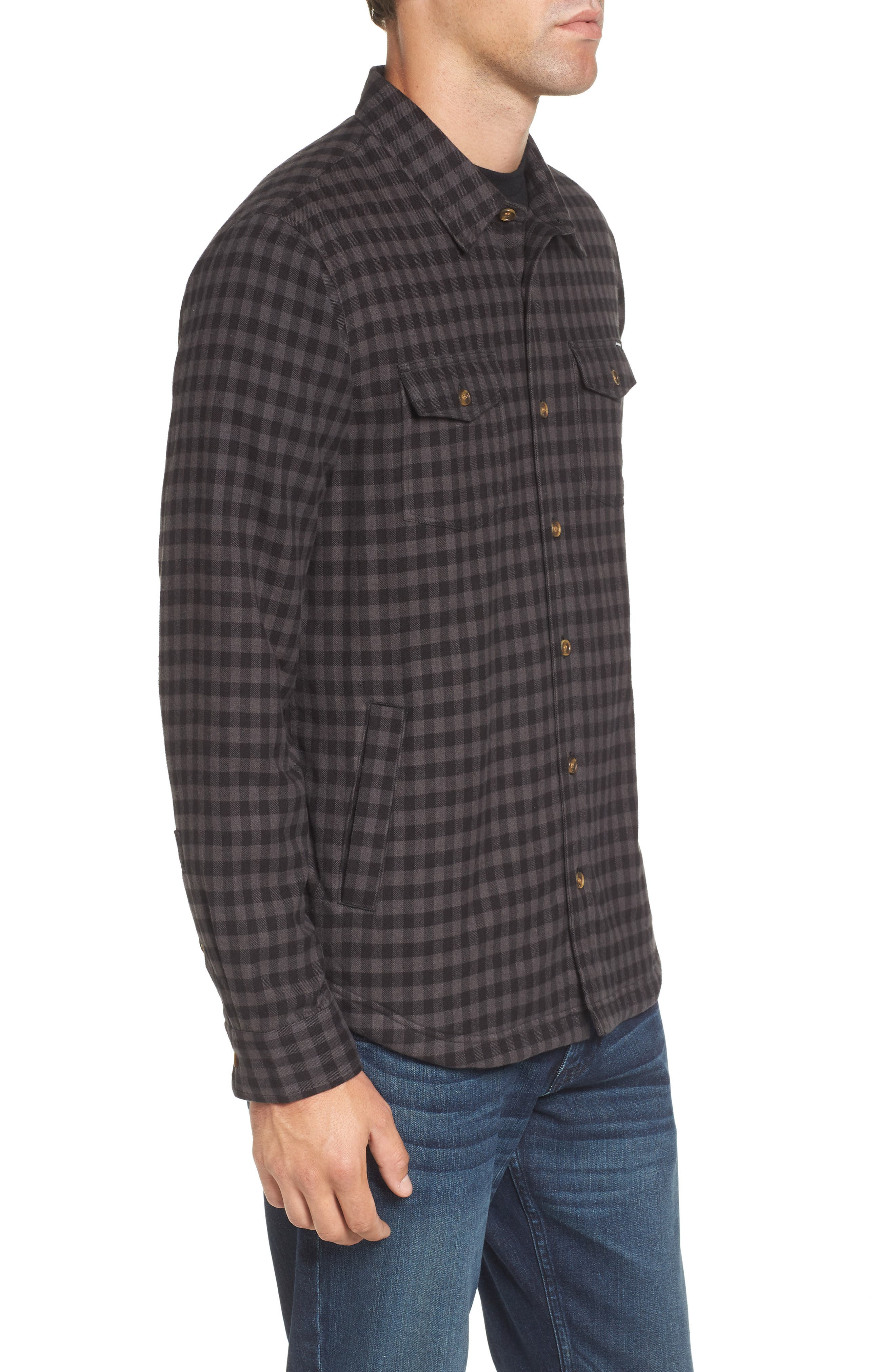 Gronk Lined Flannel Shirt,                             Alternate thumbnail 3, color,                             001