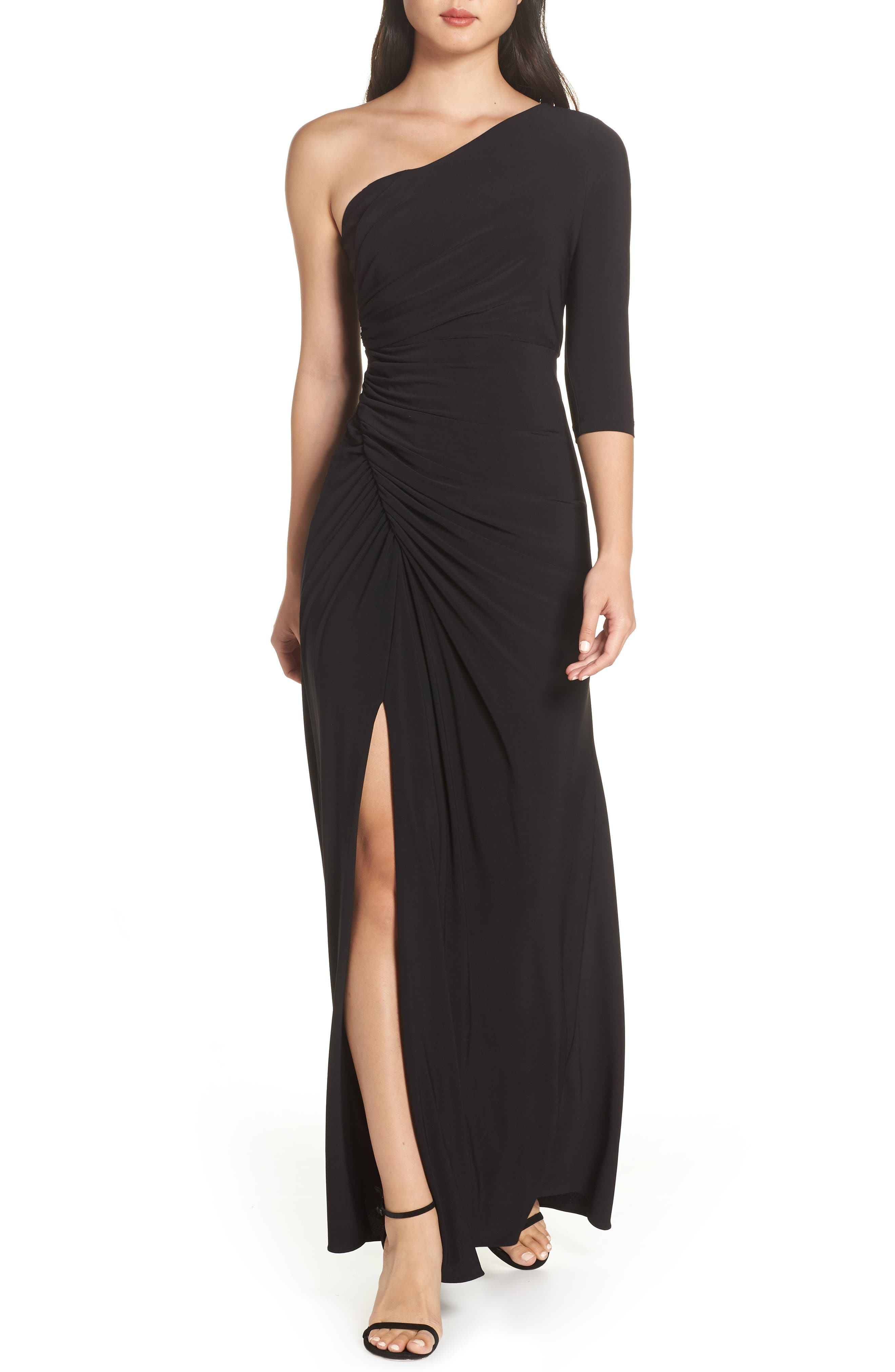 Adrianna Papell Jersey Gown, Black