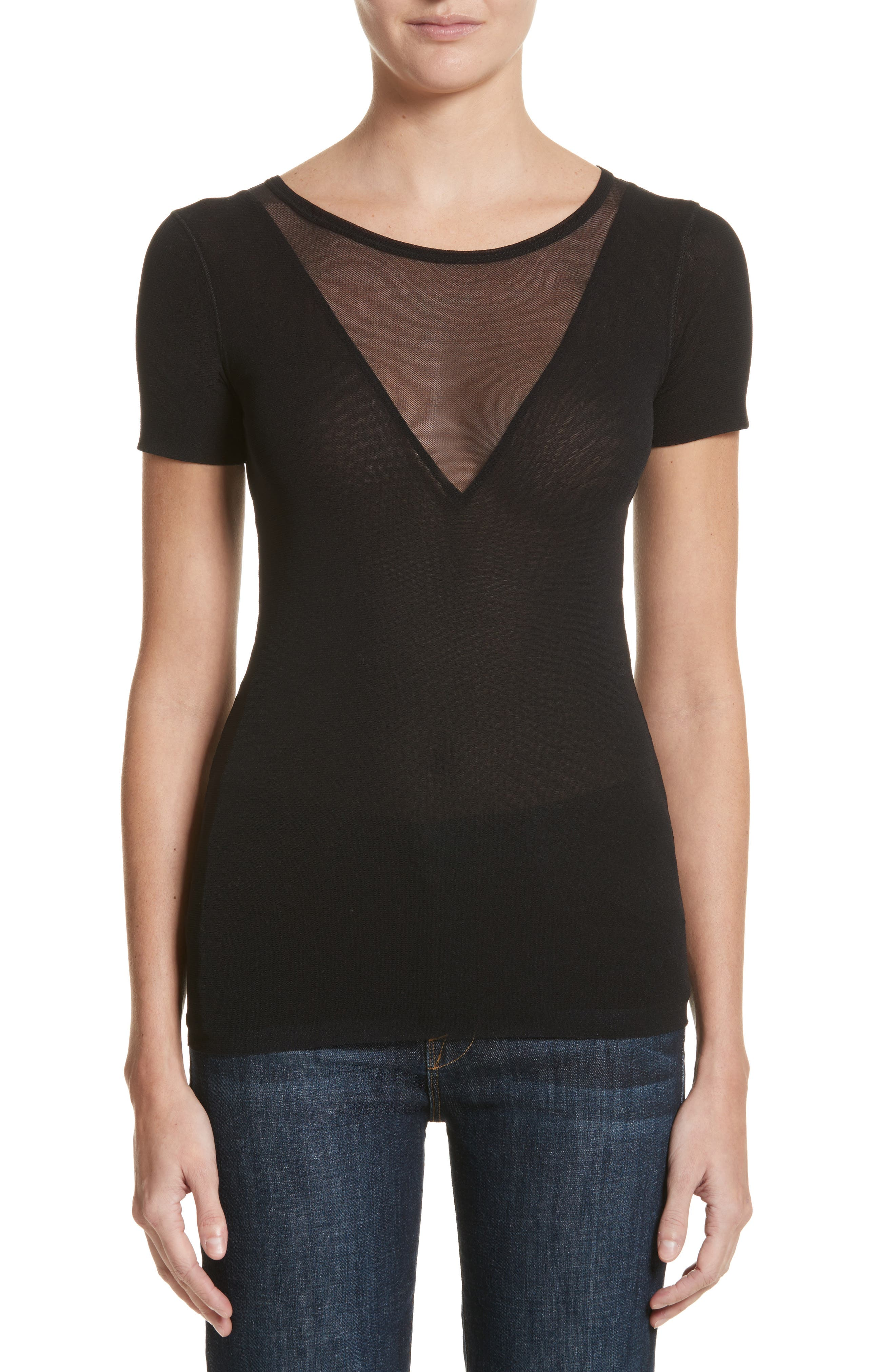 Double Layer Tulle Tee,                         Main,                         color,