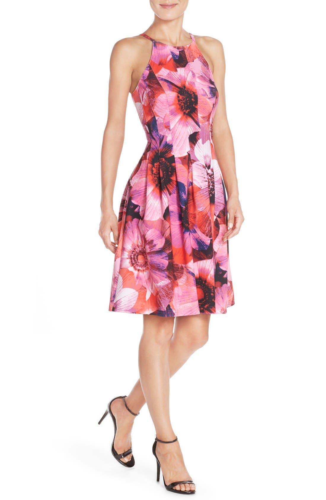 Floral Print Pleated Scuba Fit & Flare Dress,                             Alternate thumbnail 3, color,                             688