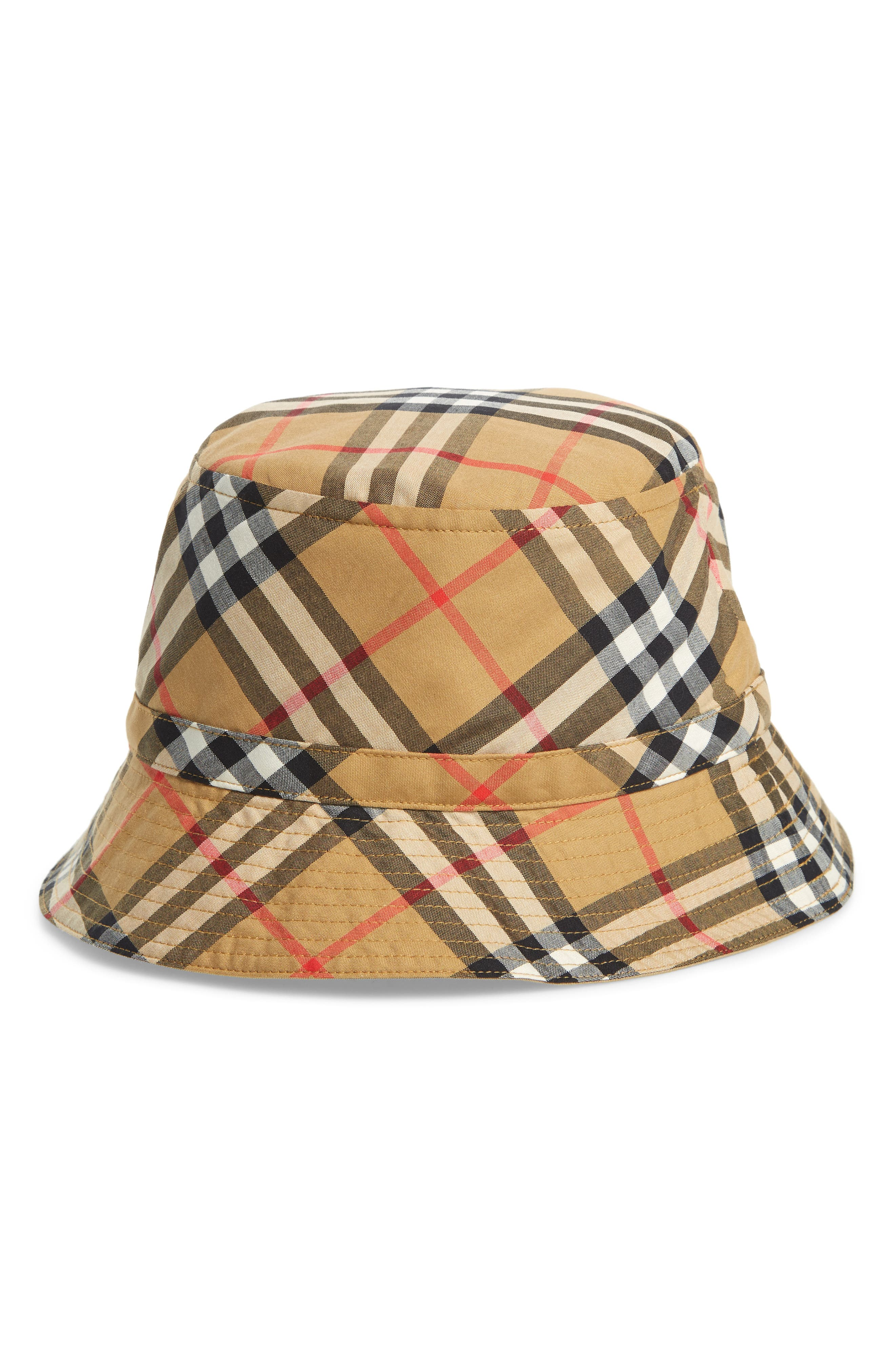 BURBERRY,                             Chandy Check Bucket Hat,                             Main thumbnail 1, color,                             701