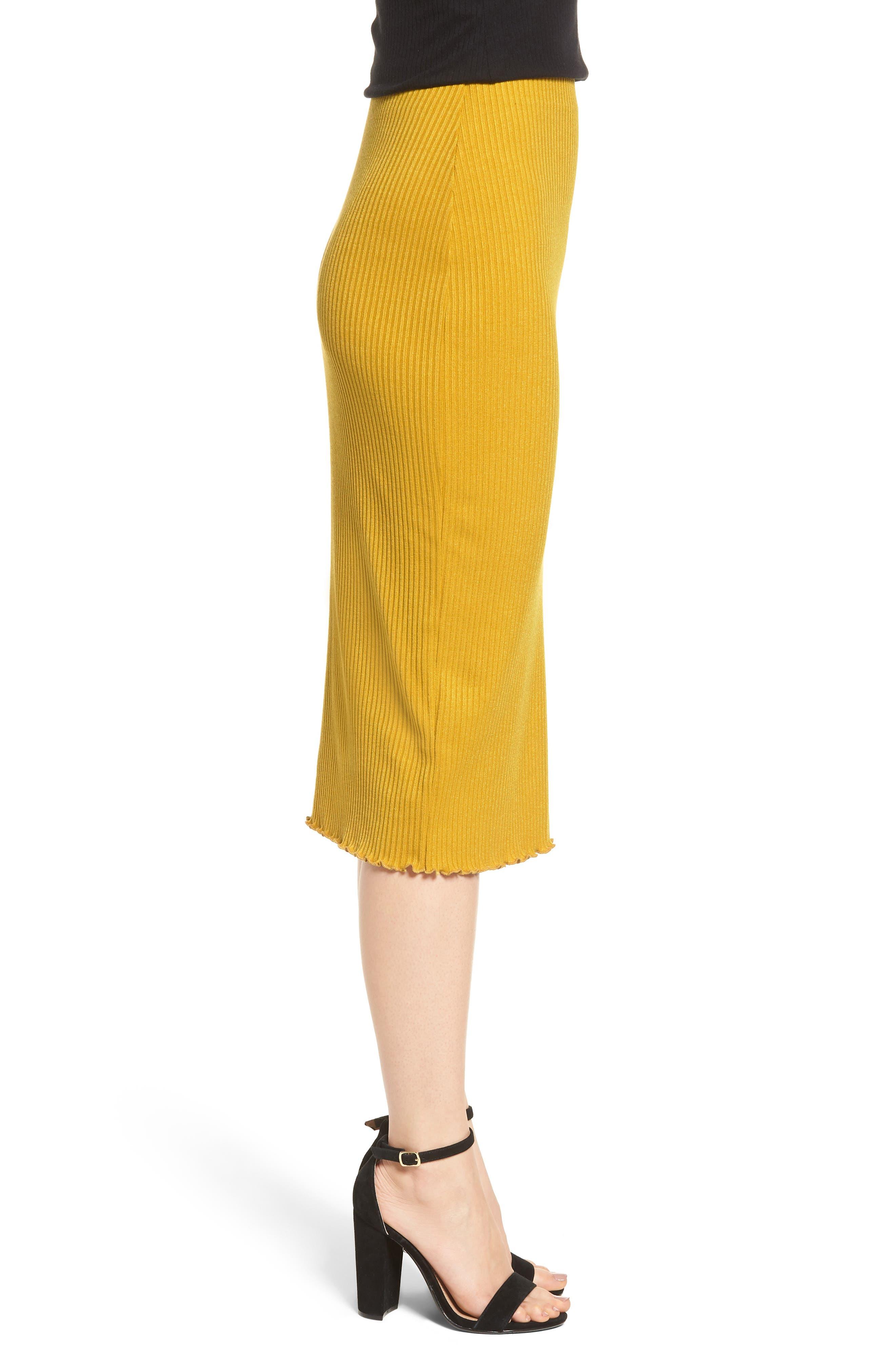 Rib Knit Pencil Skirt,                             Alternate thumbnail 3, color,
