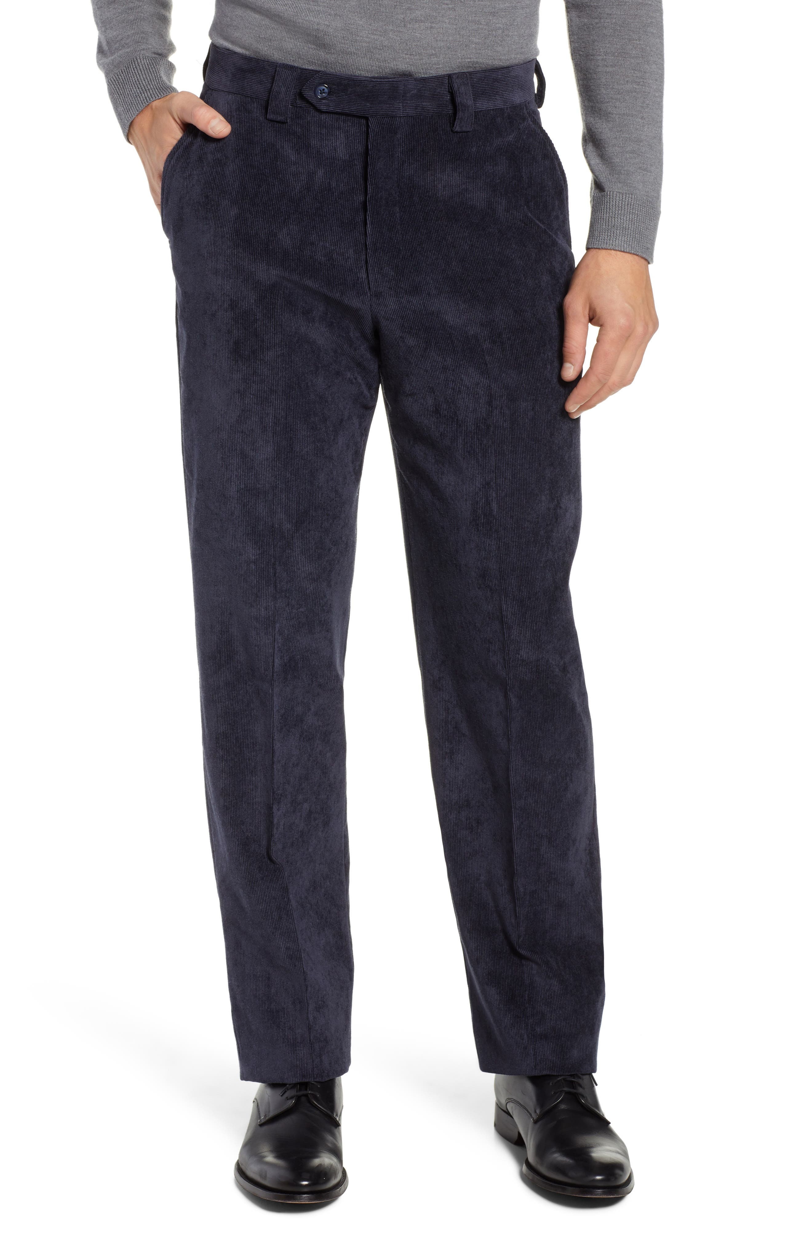 BERLE,                             Classic Fit Flat Front Corduroy Trousers,                             Main thumbnail 1, color,                             410